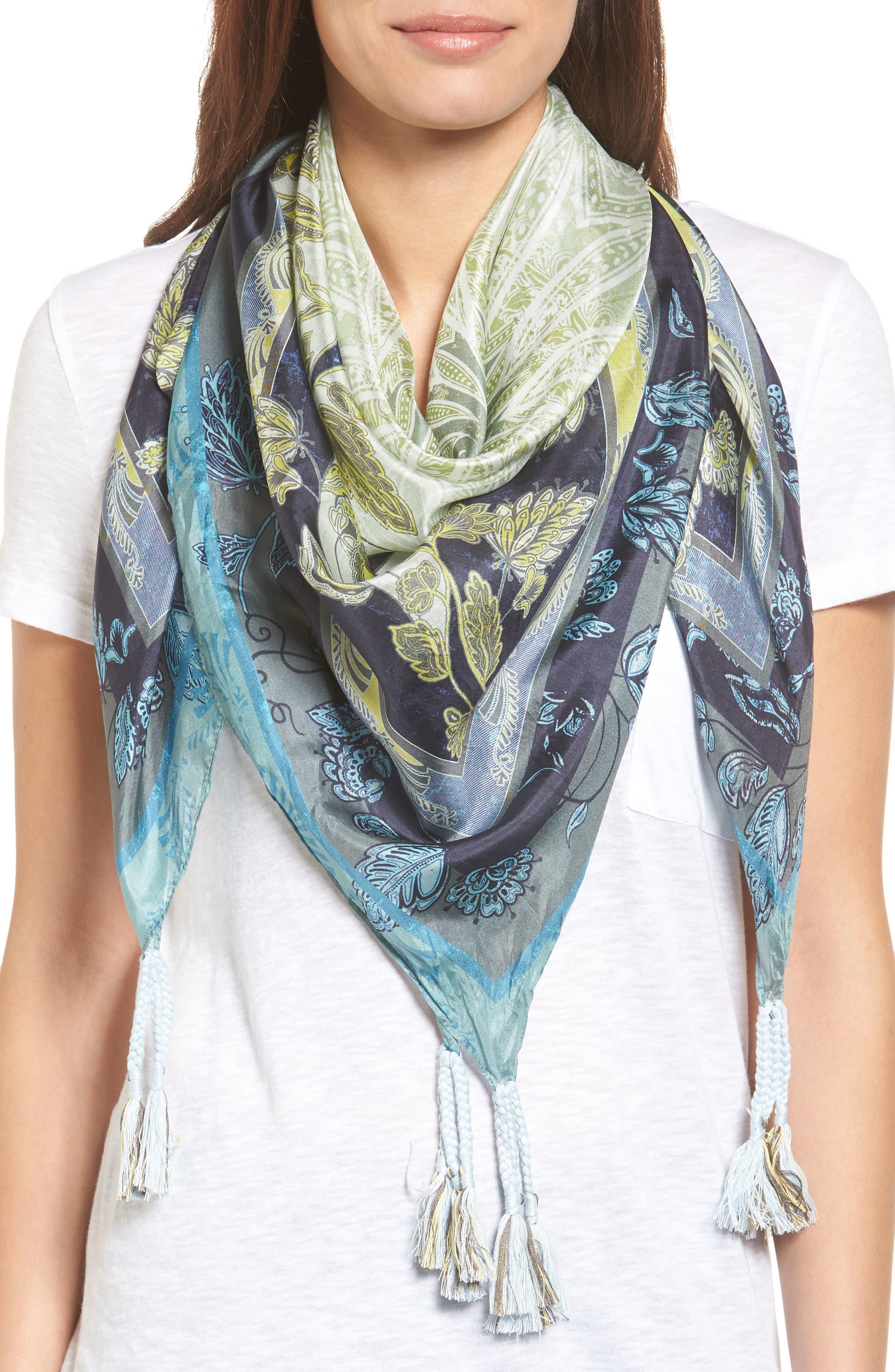 Arina Silk Square Scarf,                         Main,                         color, Mixed Print