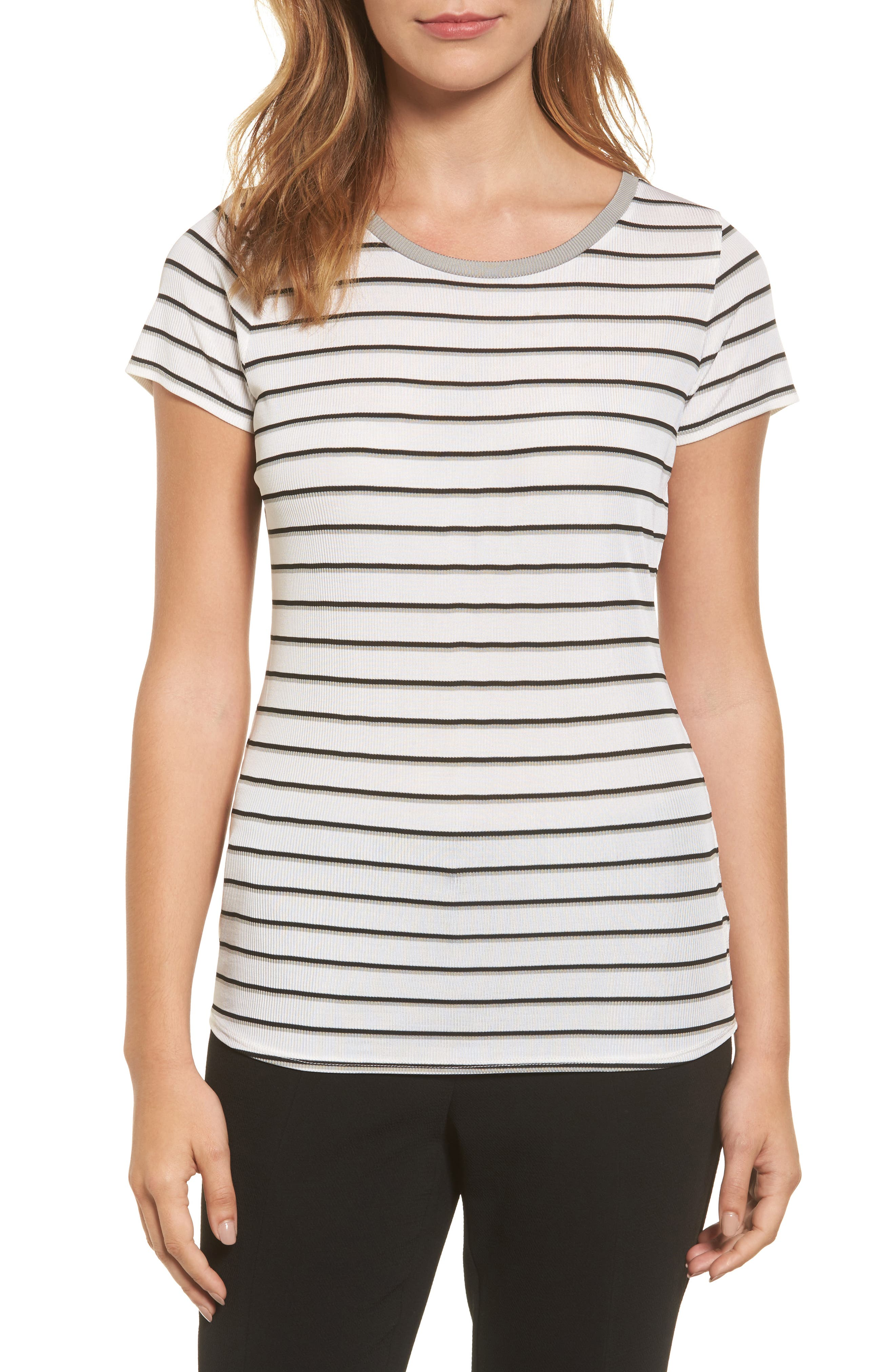 BOSS Enala Stripe Rib Knit Tee