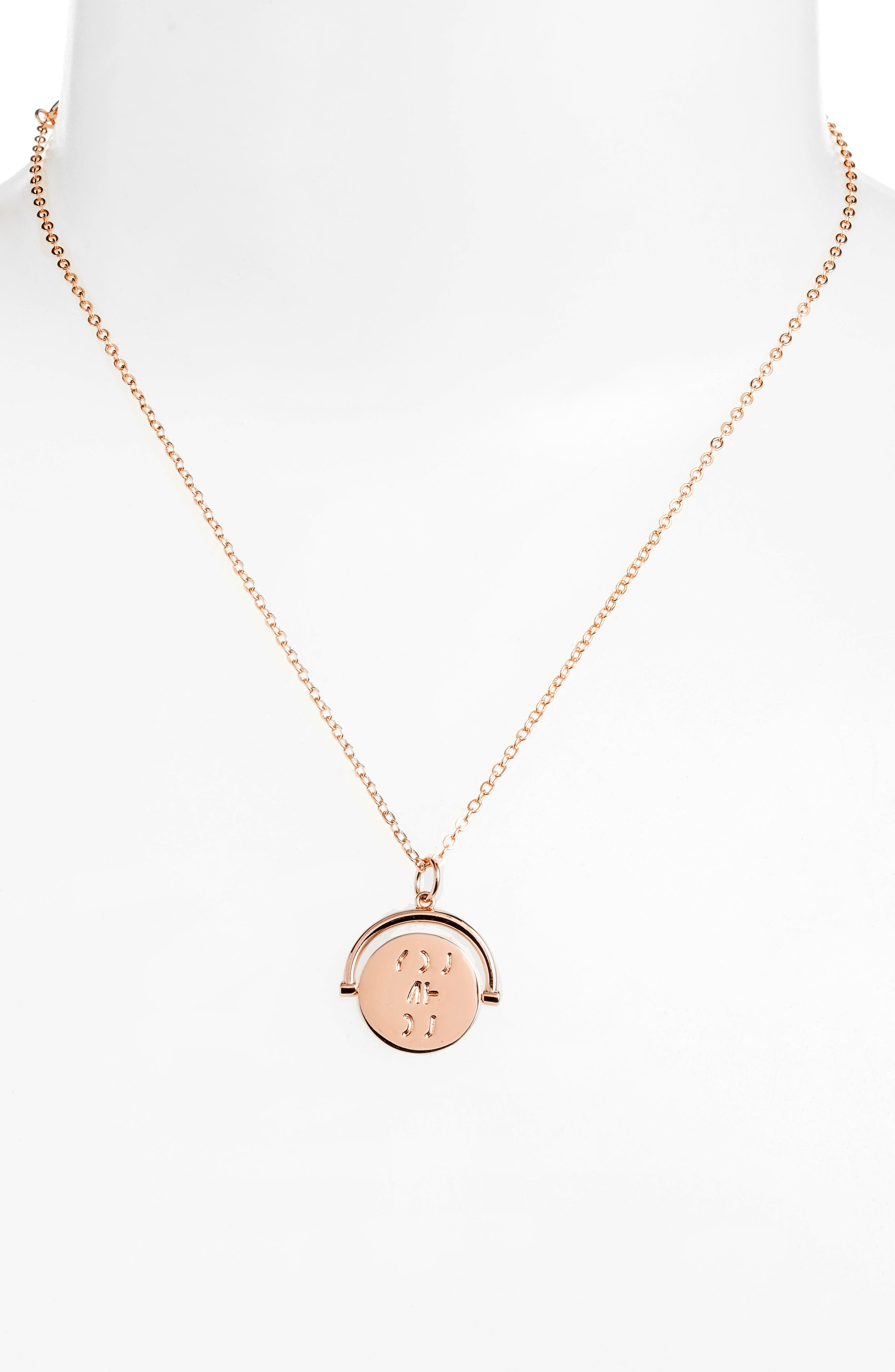 Love Code Spinning Pendant Necklace,                             Alternate thumbnail 2, color,                             You/Rose Gold