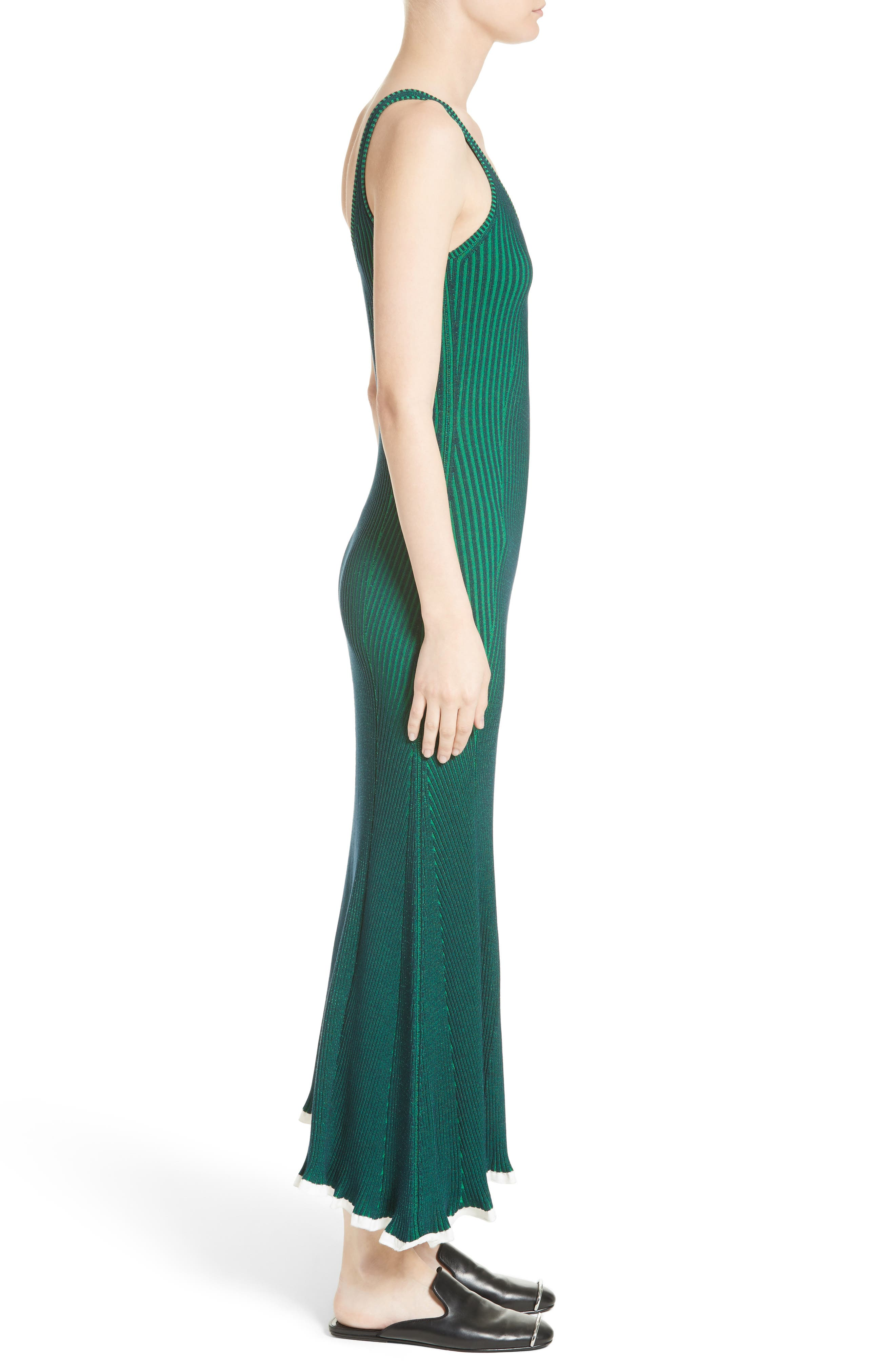 Ribbed Maxi Dress,                             Alternate thumbnail 3, color,                             Navy With Emerald Combo