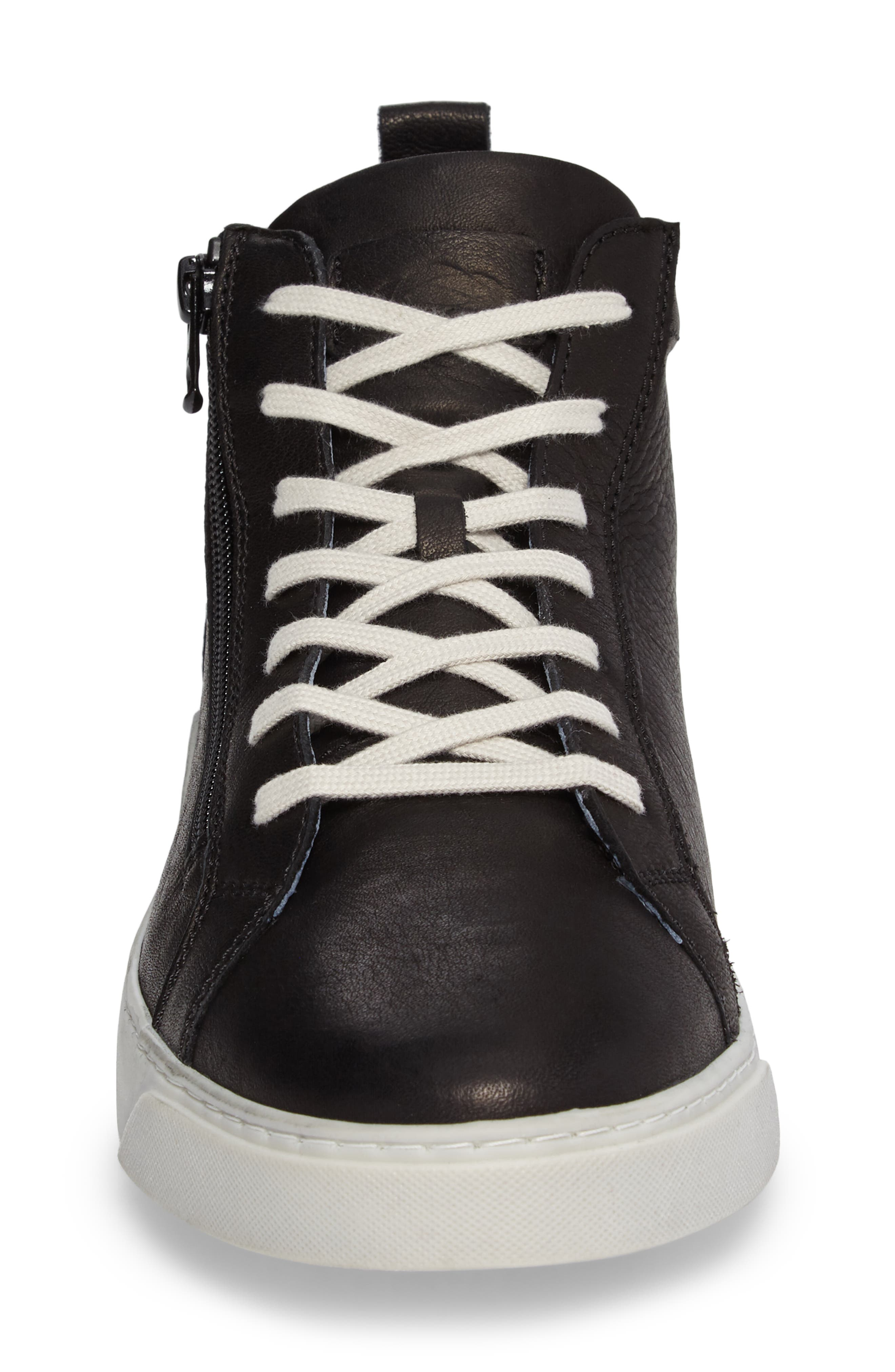 Irwin Mid Top Sneaker,                             Alternate thumbnail 4, color,                             Black Leather