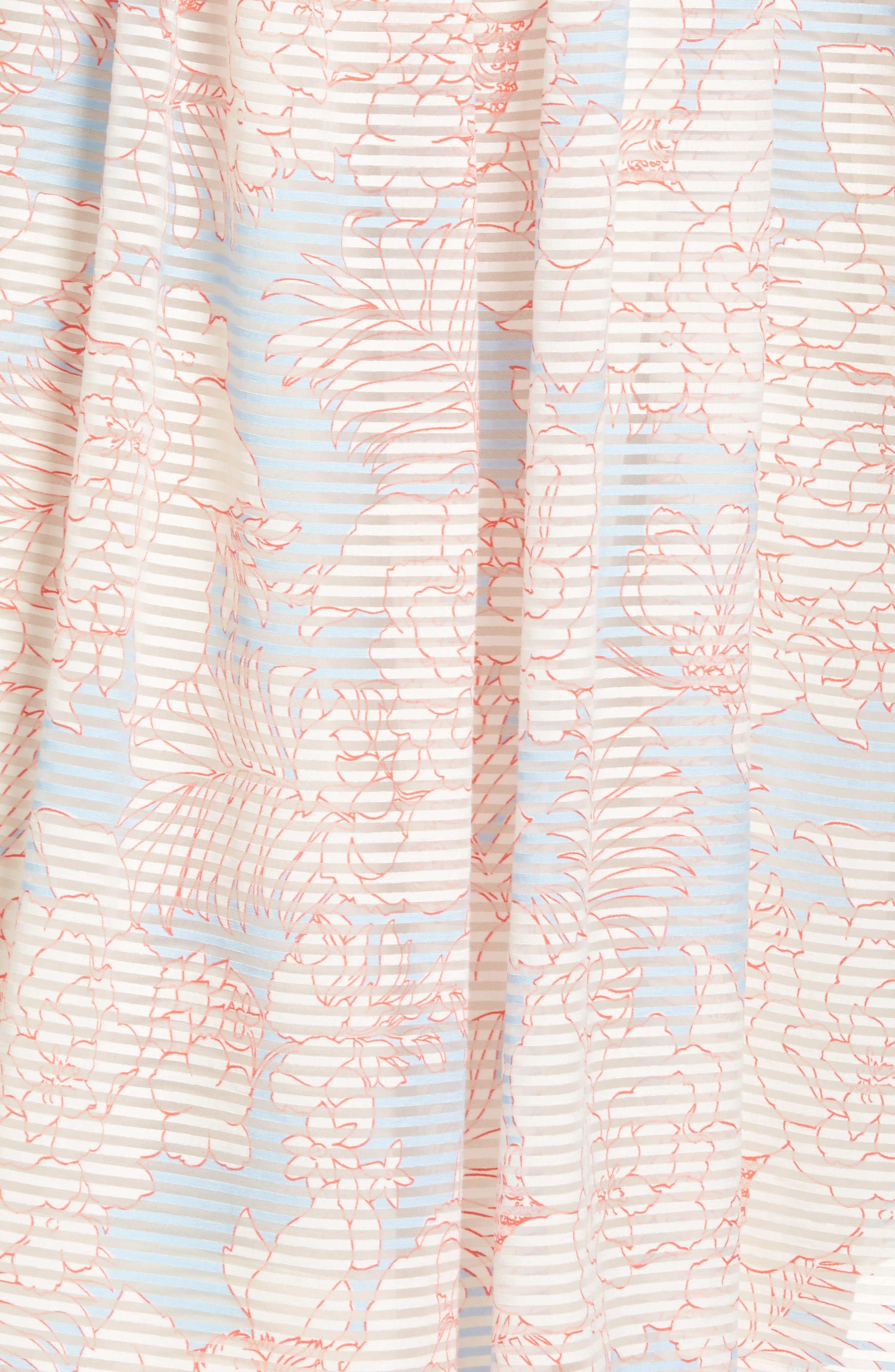 Bahamas Print Midi Dress,                             Alternate thumbnail 5, color,                             Bleu