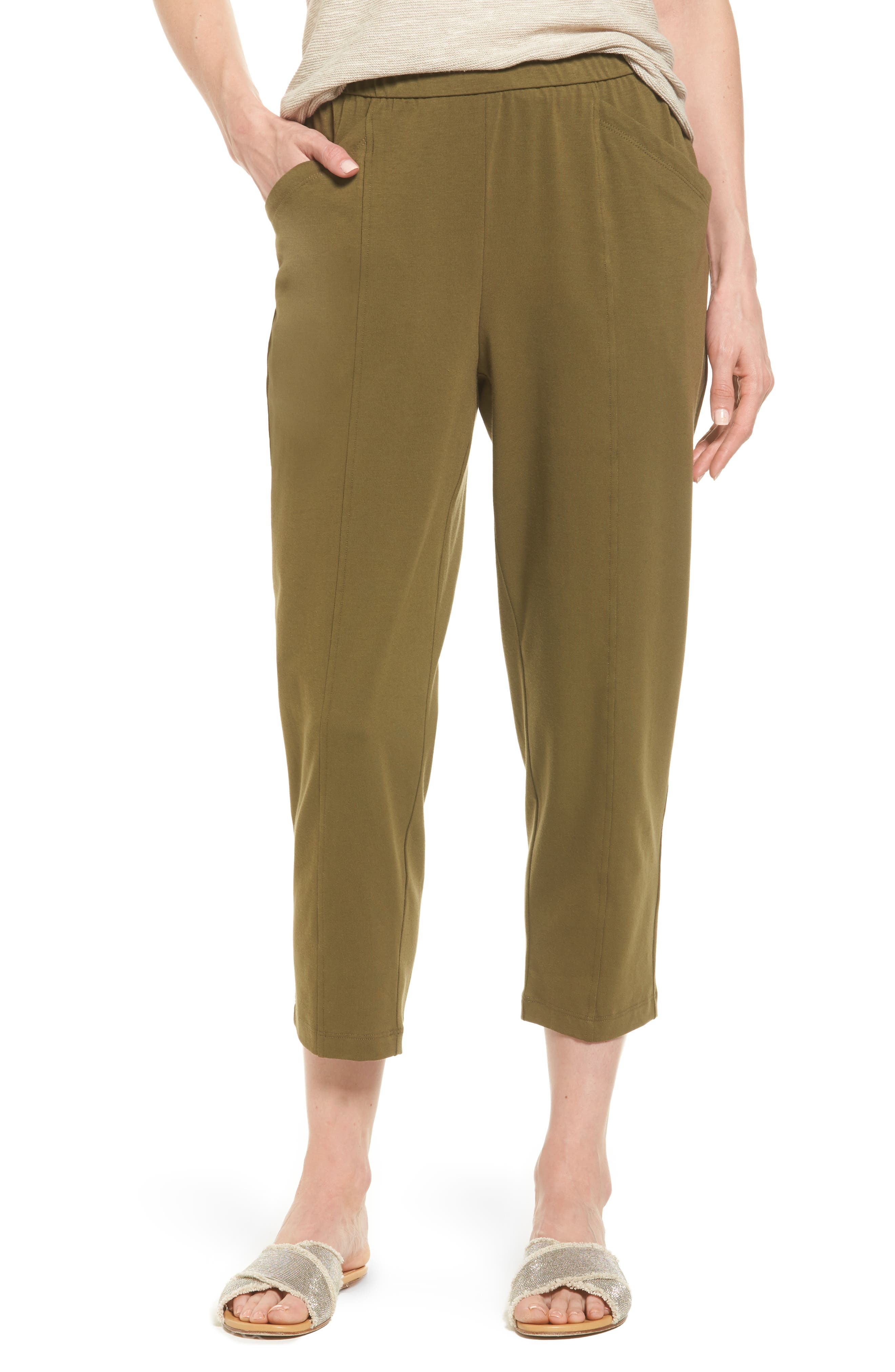 Eileen Fisher Stretch Organic Cotton Crop Pants (Regular & Petite)