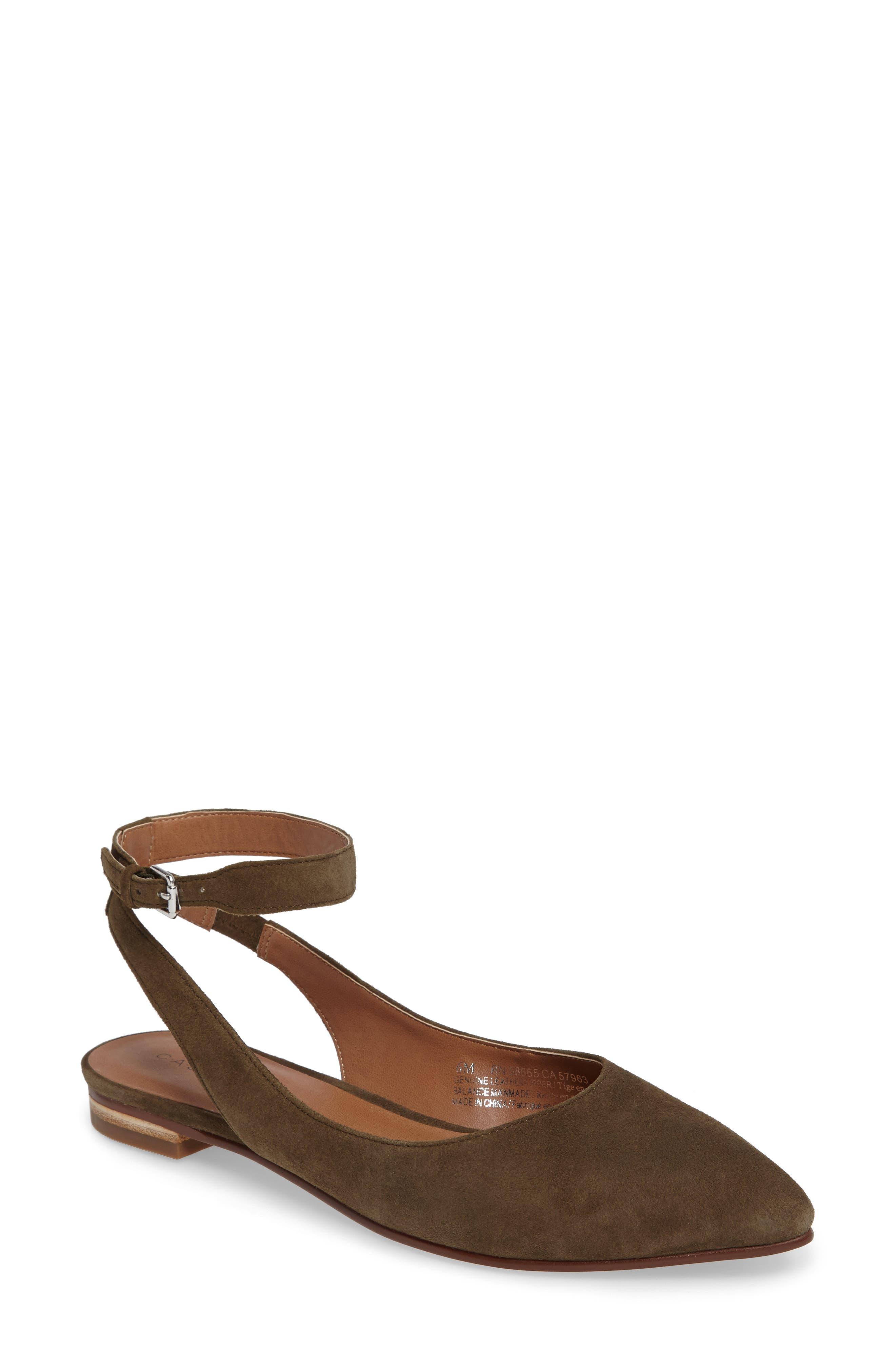 Caslon® Abby Ankle Strap Flat (Women)