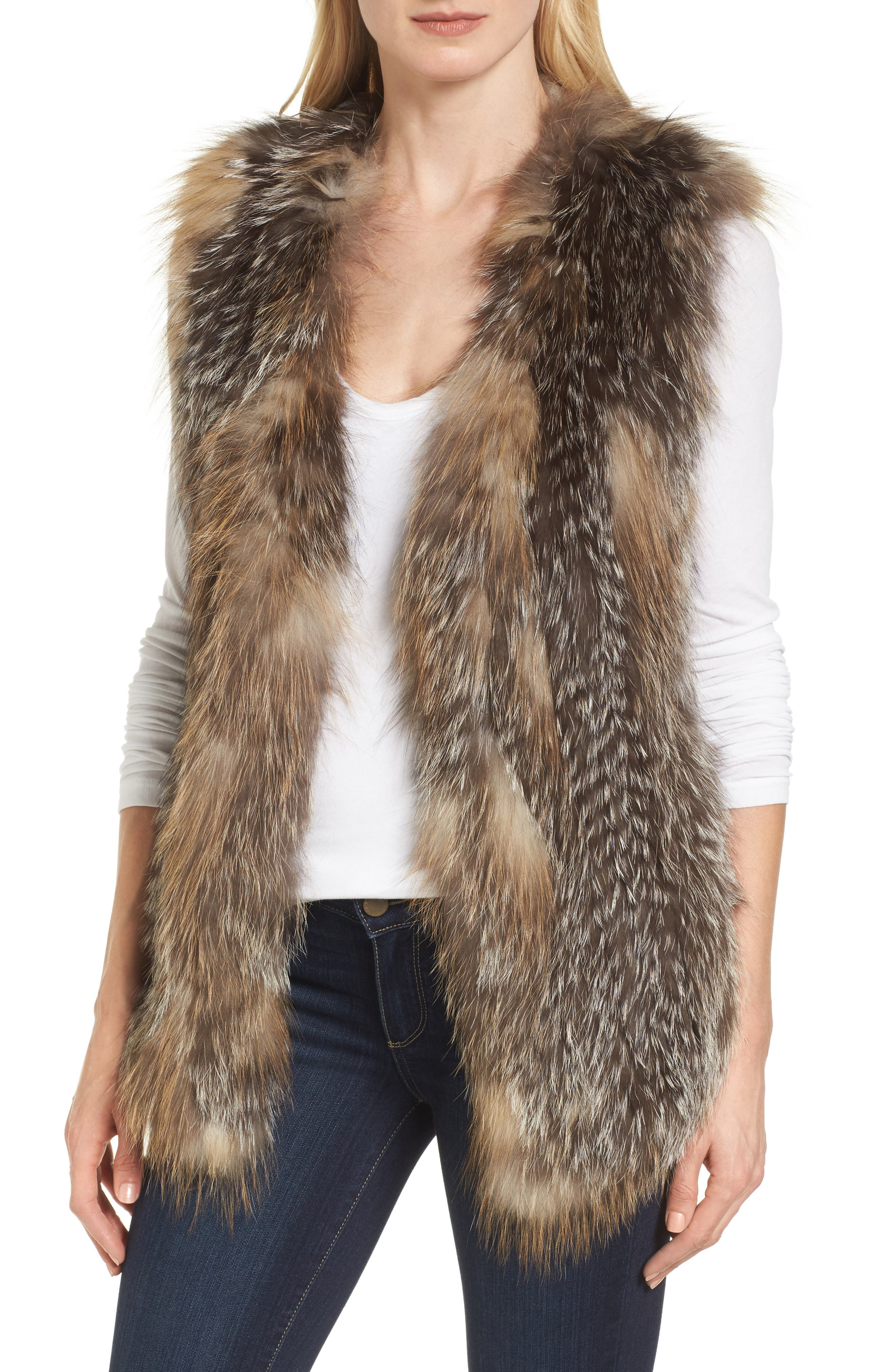 Genuine Fox Fur Vest,                         Main,                         color, Natural Gold