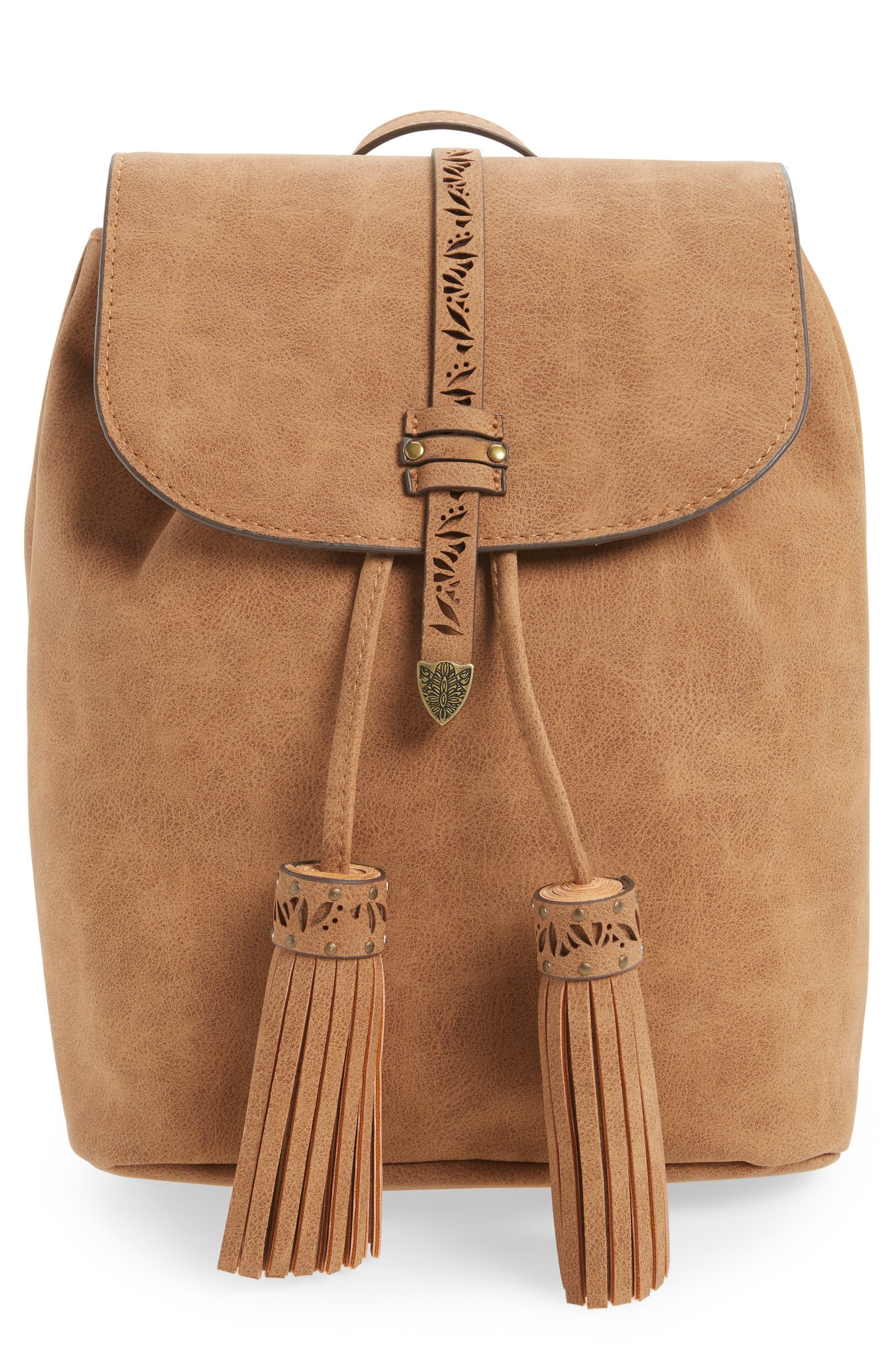 Elle & Jae Gypset Palomina Cutwork Trim Faux Leather Backpack