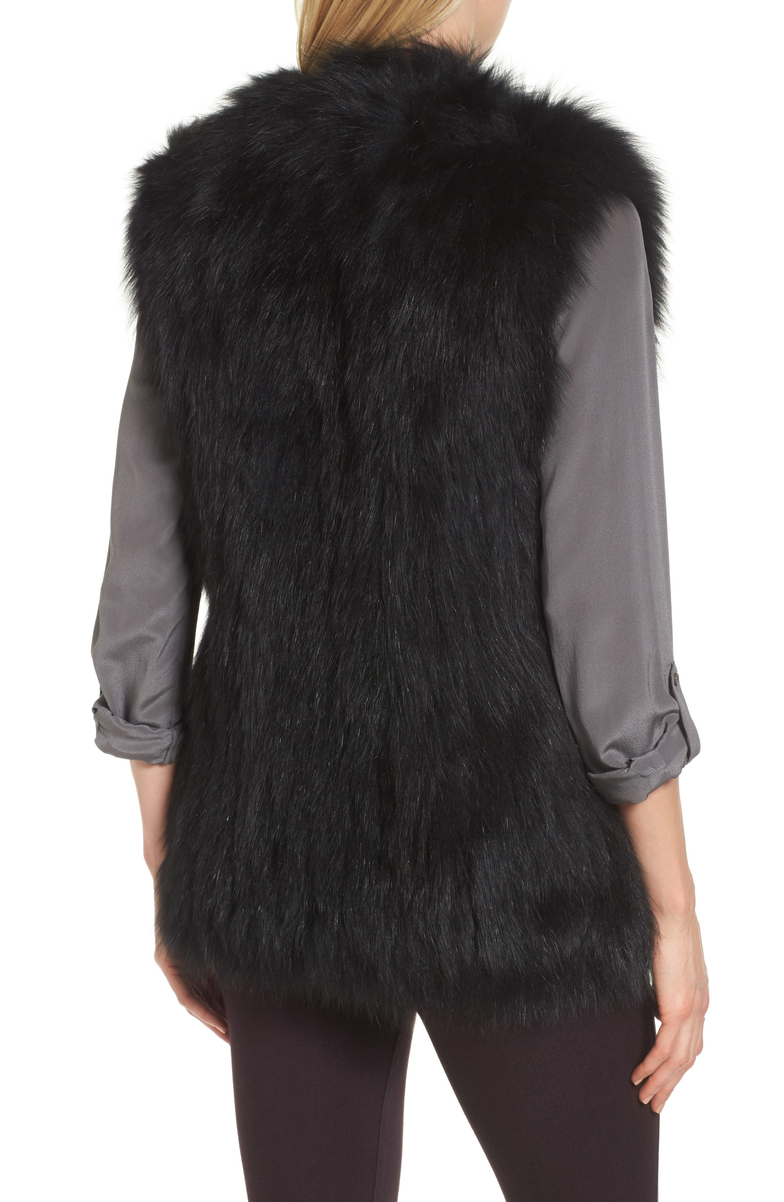 Genuine Fox Fur Vest,                             Alternate thumbnail 2, color,                             Black
