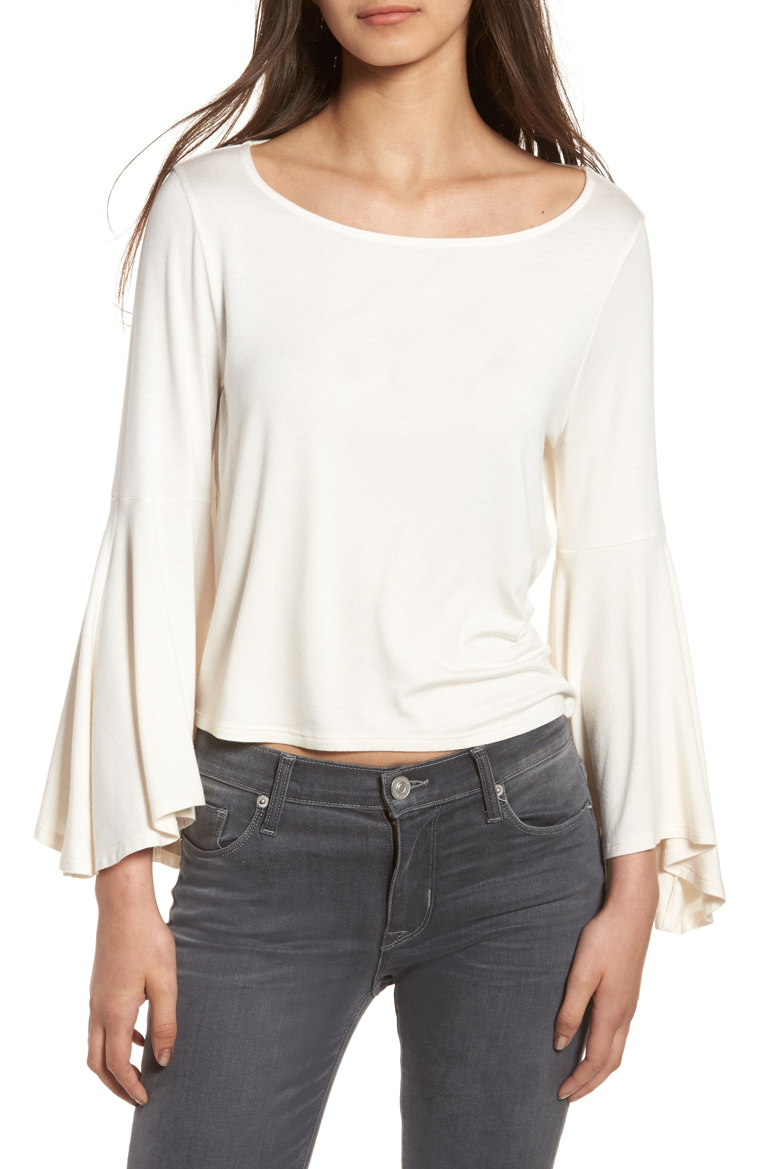 Bella Bell Sleeve Top,                         Main,                         color, Natural
