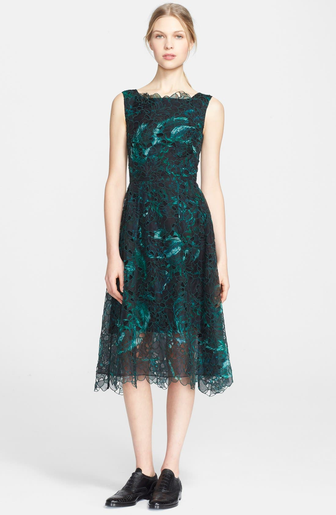 Alternate Image 1 Selected - Erdem Print Embroidered Silk Fit & Flare Dress