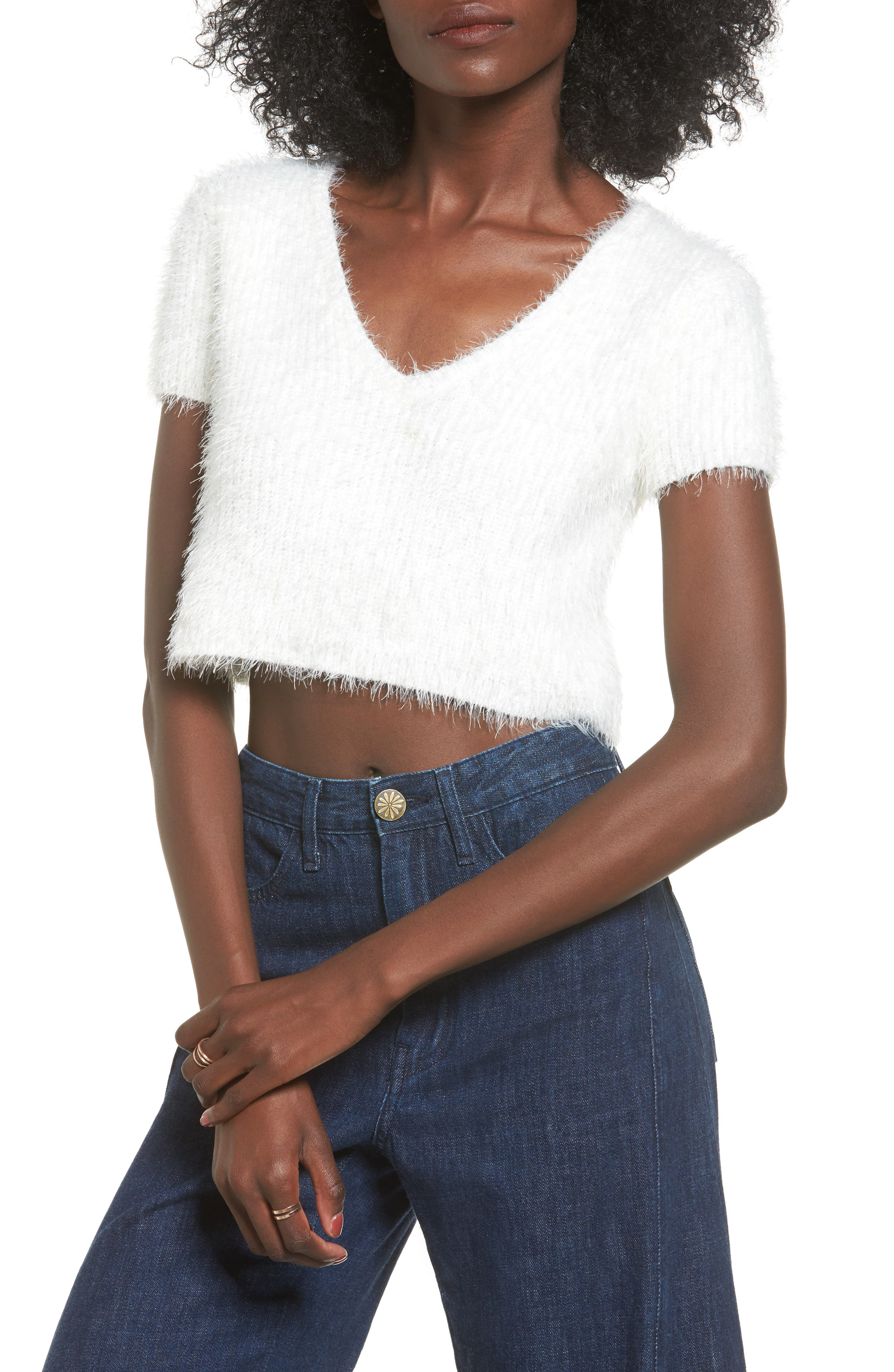 Oracle Crop Sweater,                         Main,                         color, Ivory