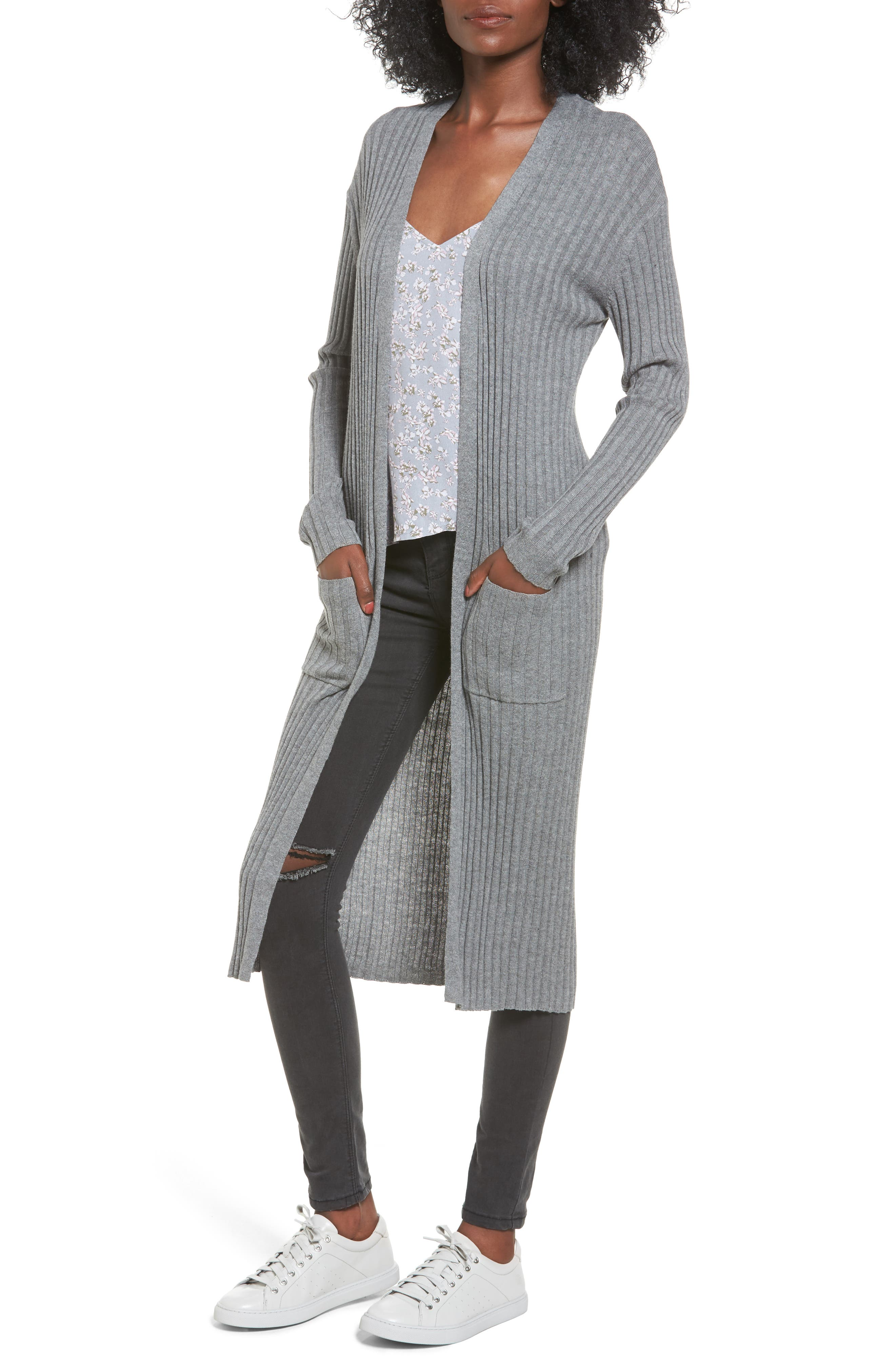 Rib Knit Midi Cardigan,                             Main thumbnail 1, color,                             Grey Cloudy Heather