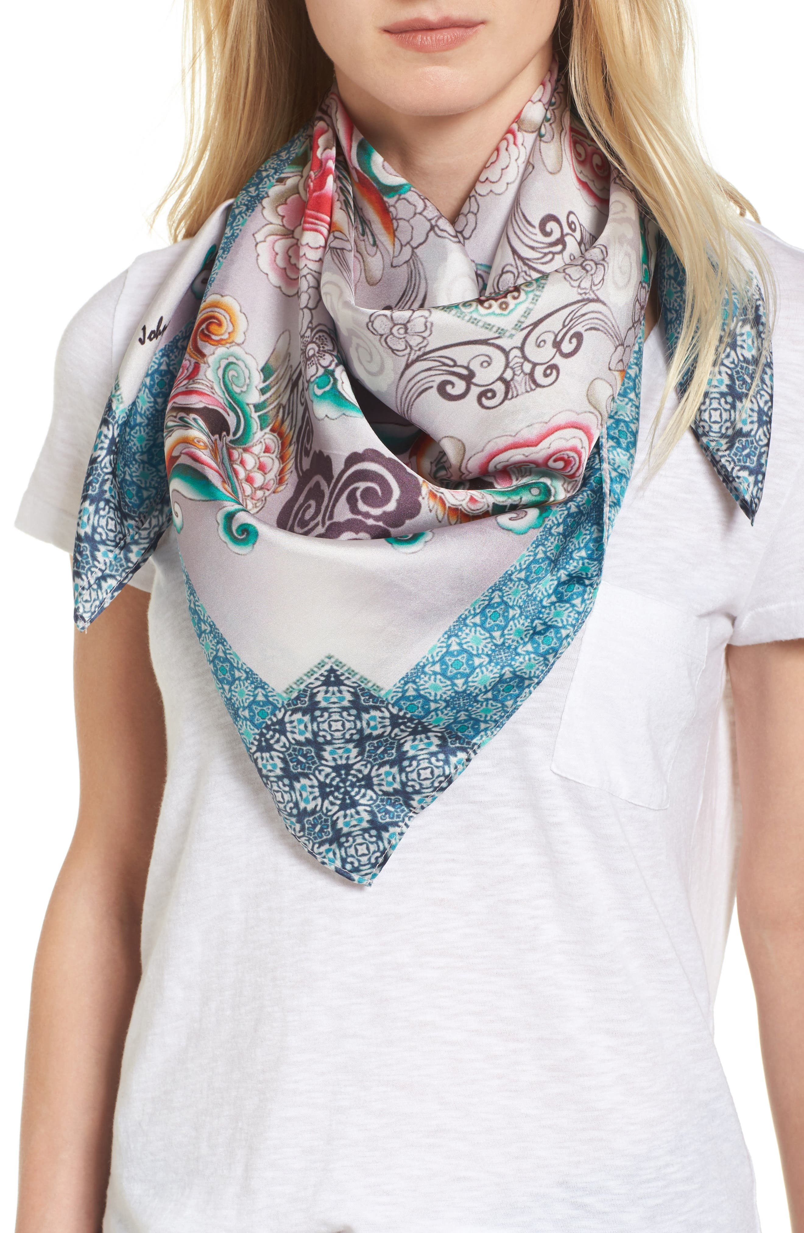 Saint Square Silk Scarf,                         Main,                         color, Mixed Print