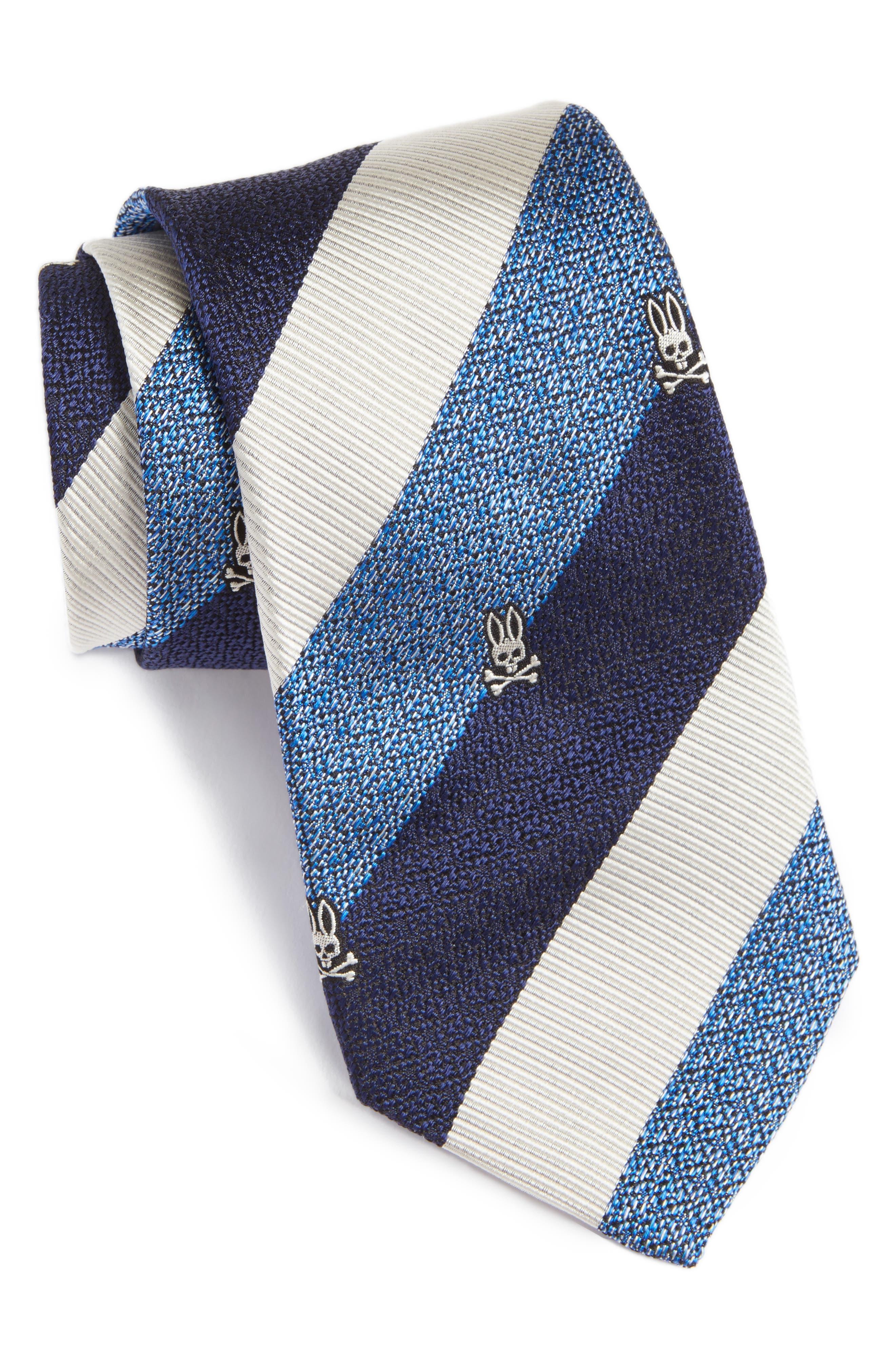 Wide Stripe Silk Tie,                             Main thumbnail 1, color,                             Blue