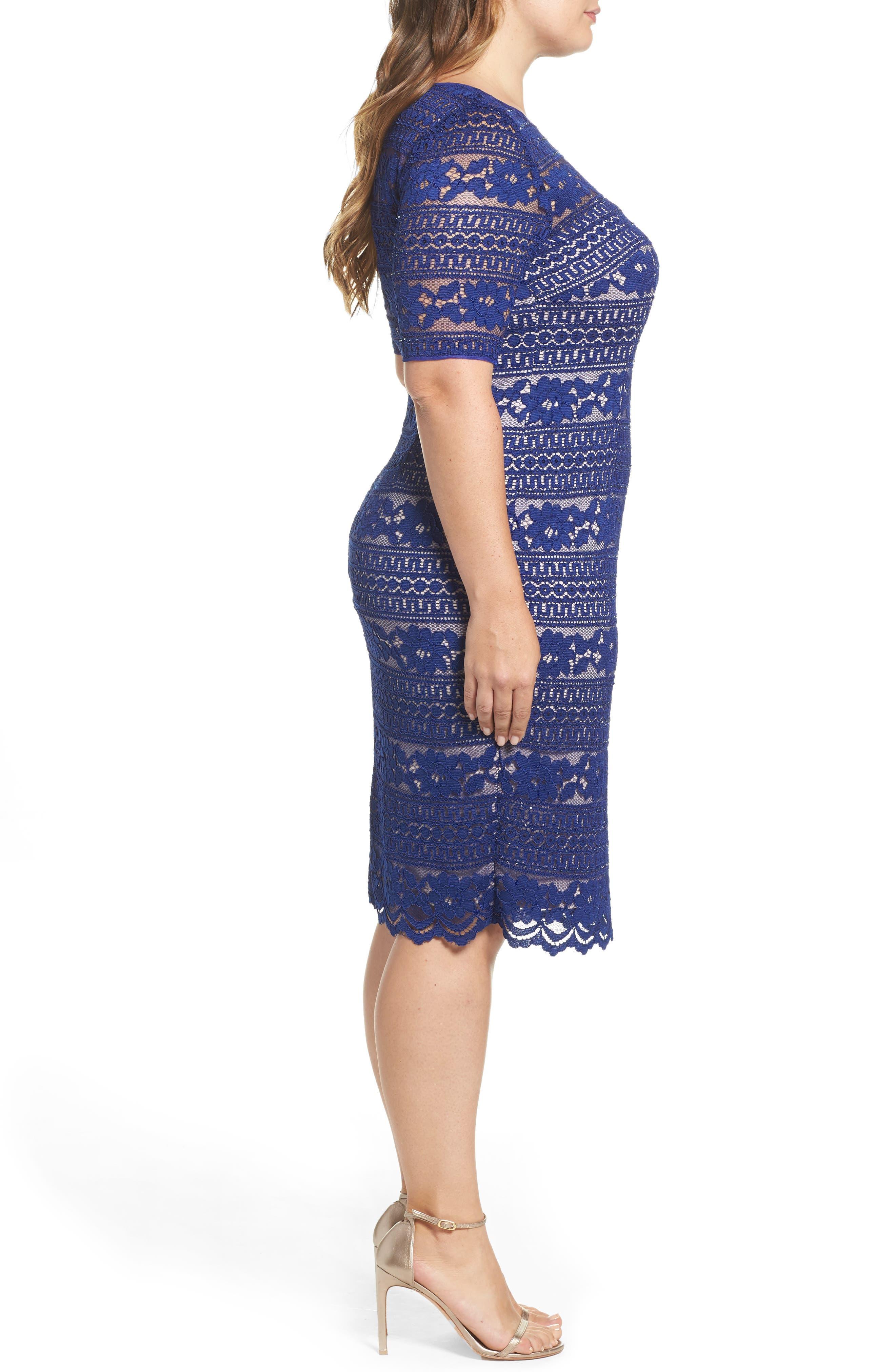 Alternate Image 3  - Adrianna Papell Illusion Sleeve Lace Sheath Dress (Plus Size)