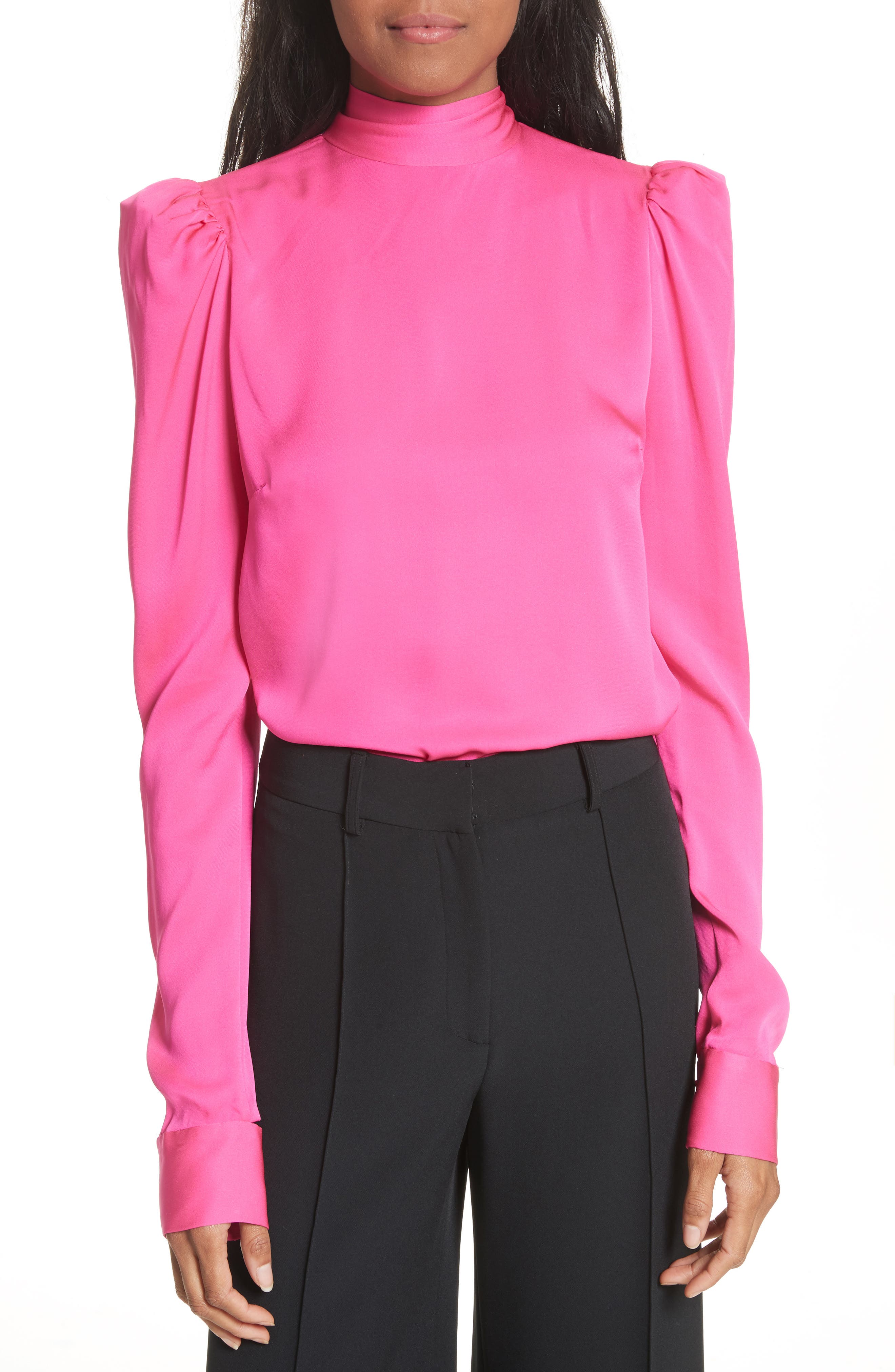 Tie Back Stretch Silk Blouse,                             Main thumbnail 1, color,                             Pink
