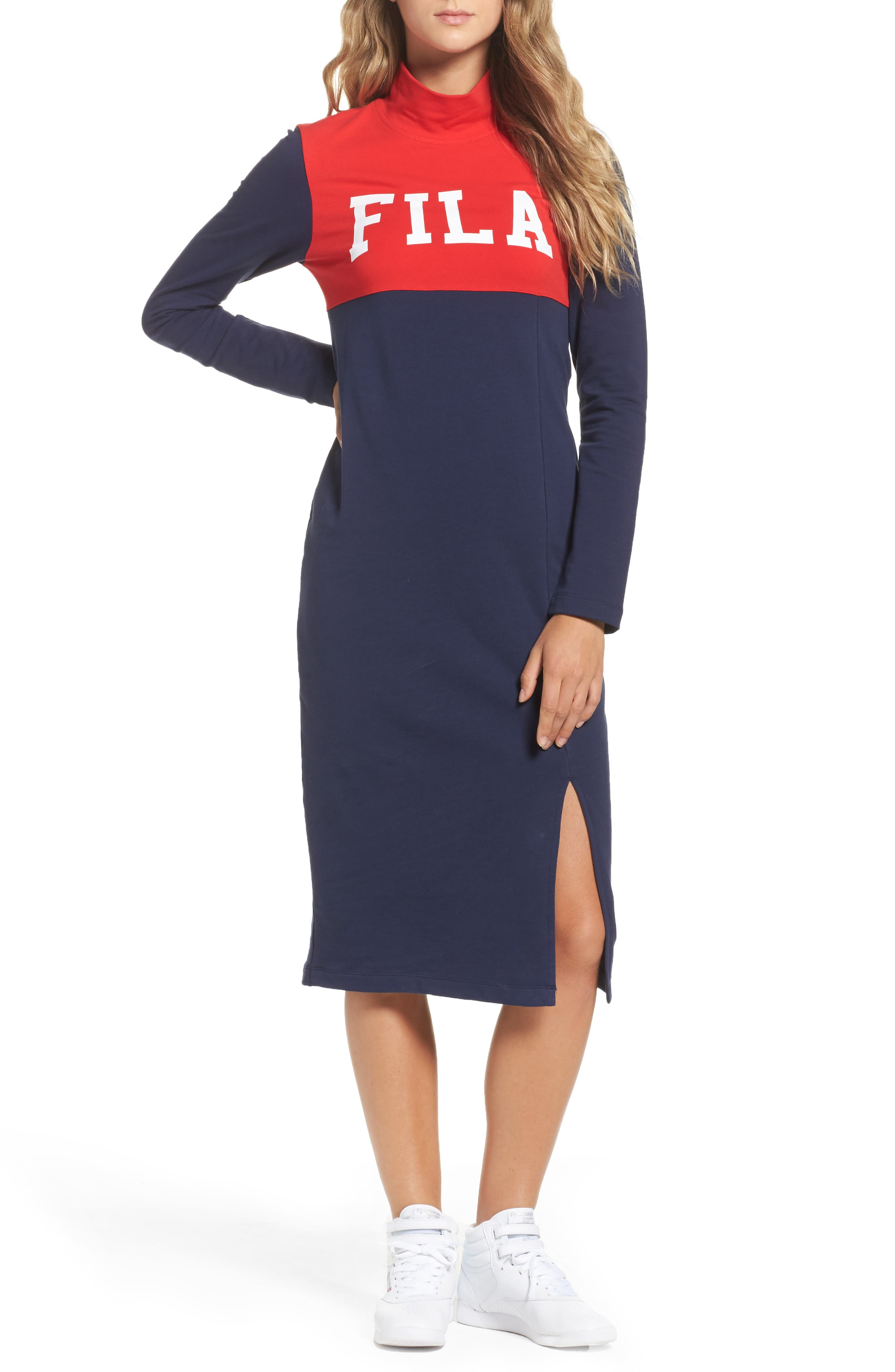 Rio Midi Dress,                         Main,                         color, Rio Red/ Navy/ Skyway