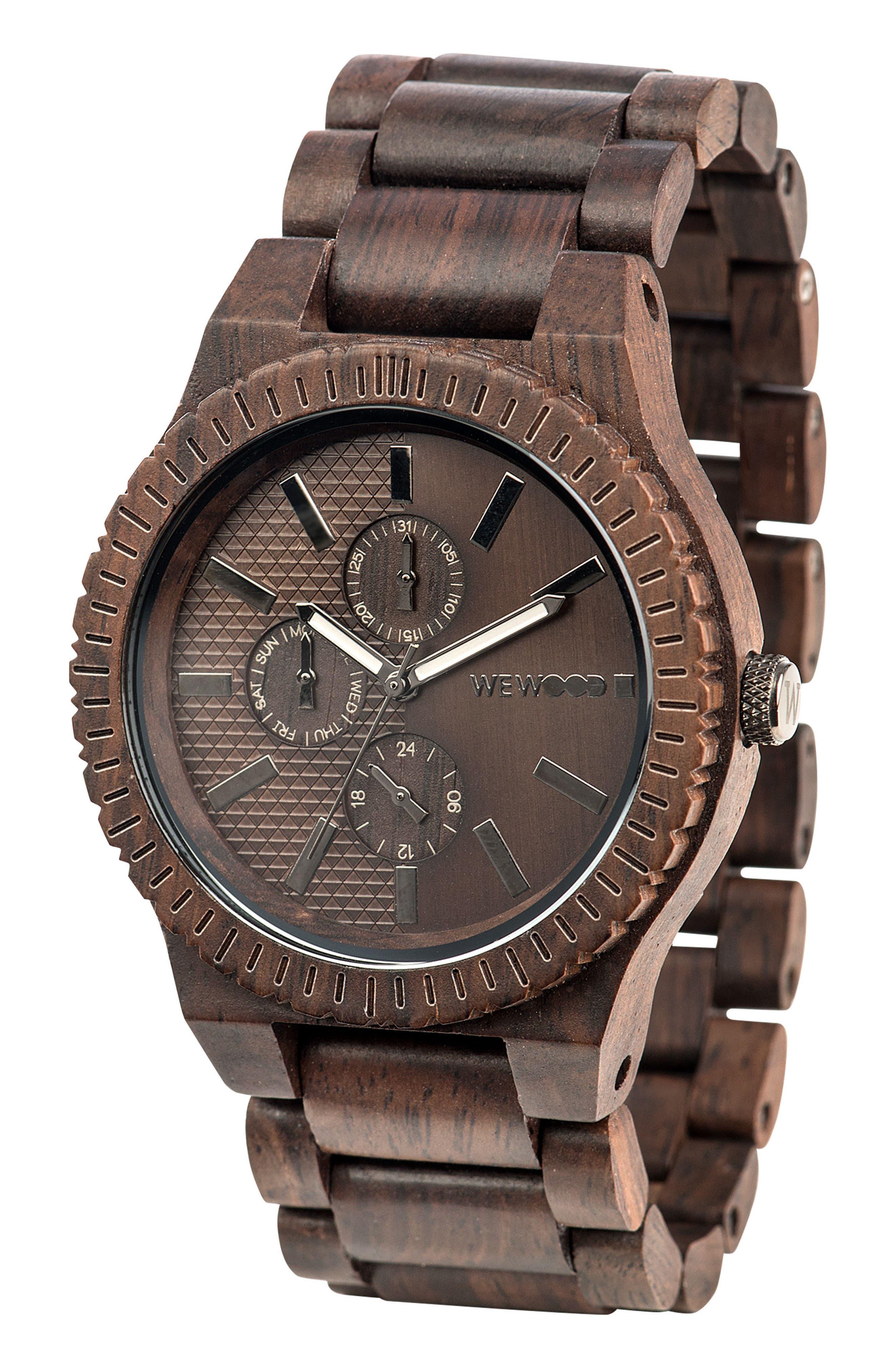 Alternate Image 3  - WeWOOD Kos Multifunctional Wood Bracelet Watch, 46mm