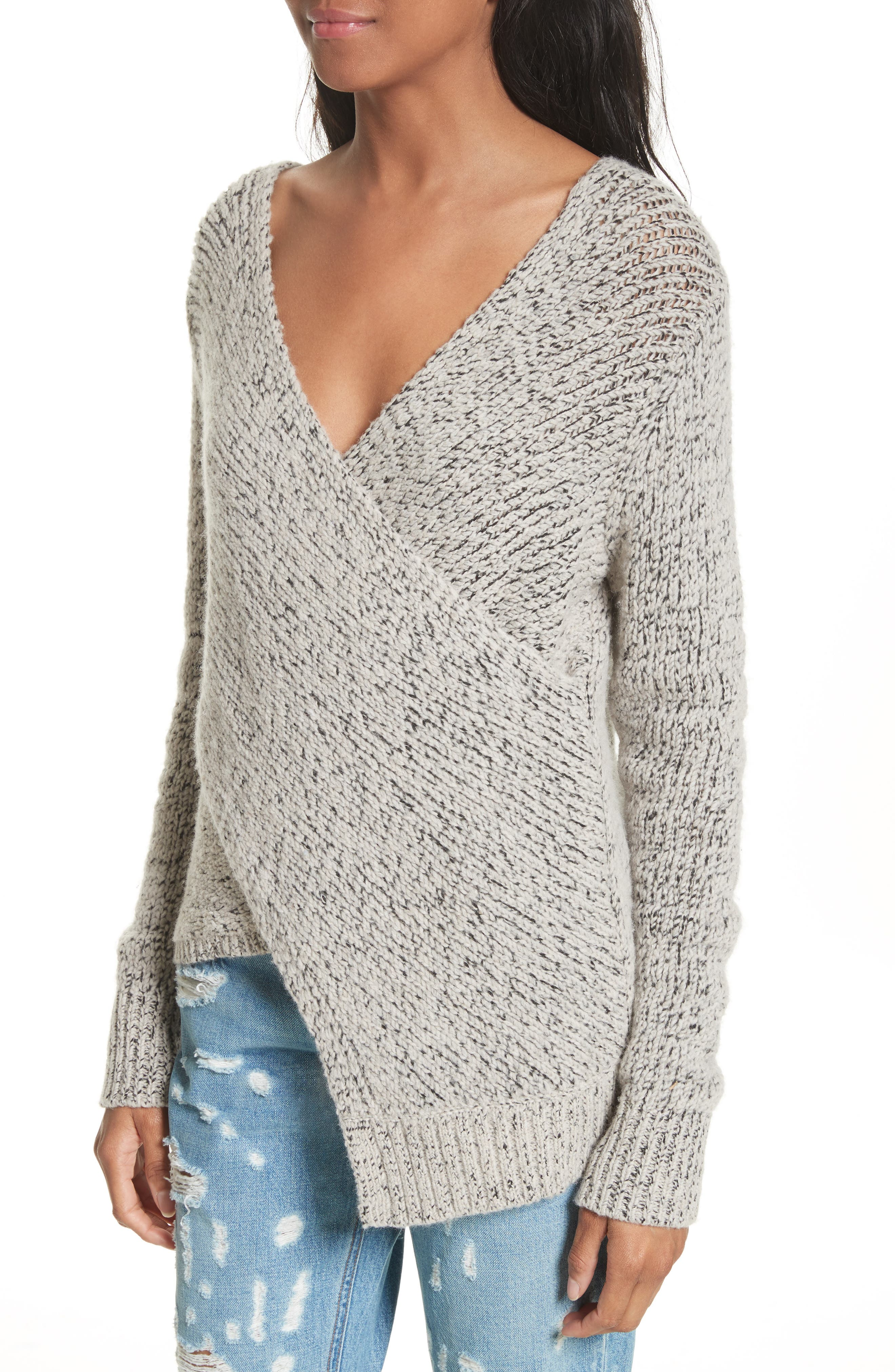 Asymmetrical Cross Front Sweater,                             Alternate thumbnail 4, color,                             Natural