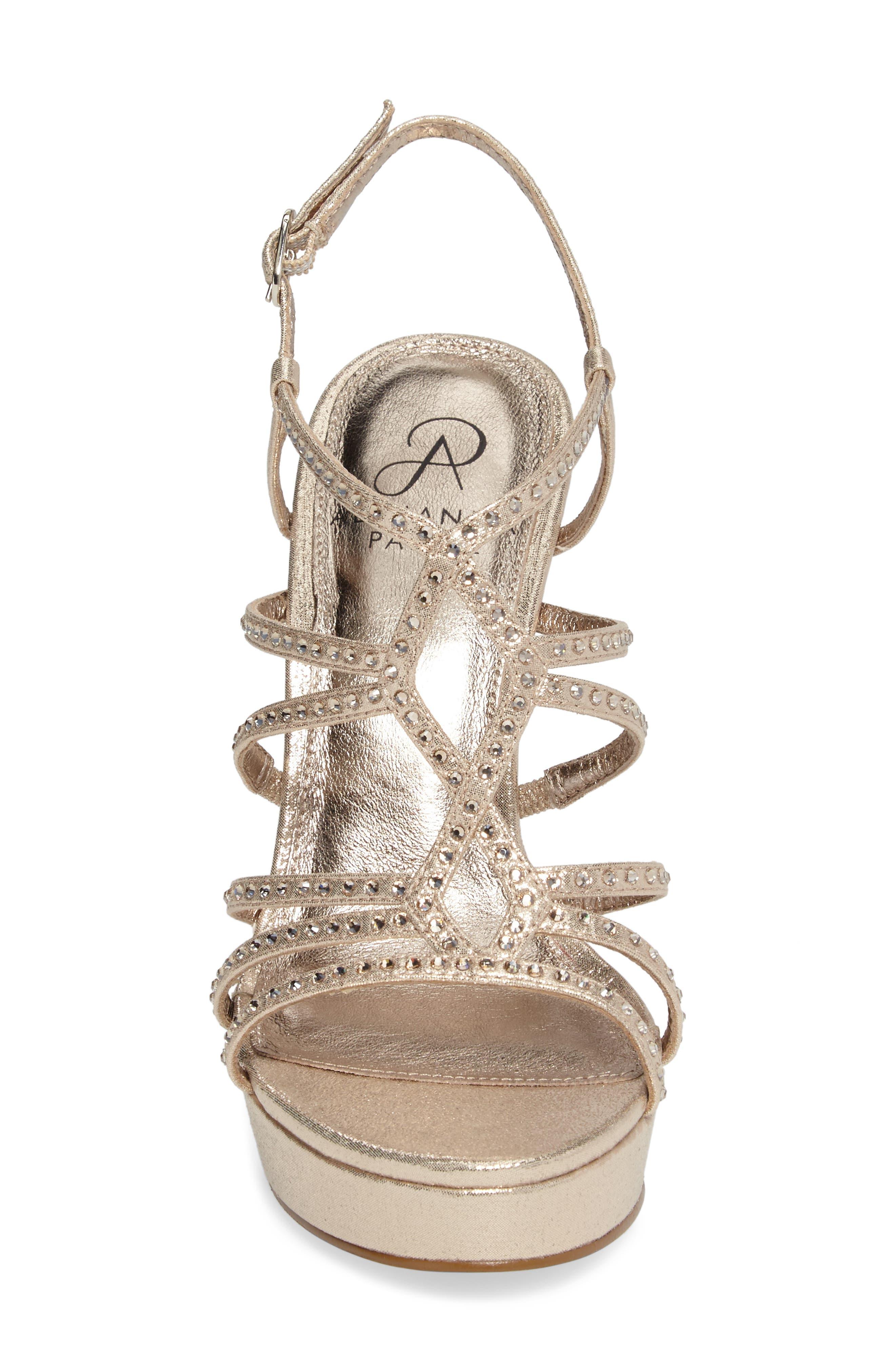 Miranda Embellished Platform Sandal,                             Alternate thumbnail 4, color,                             Gold Metallic Fabric