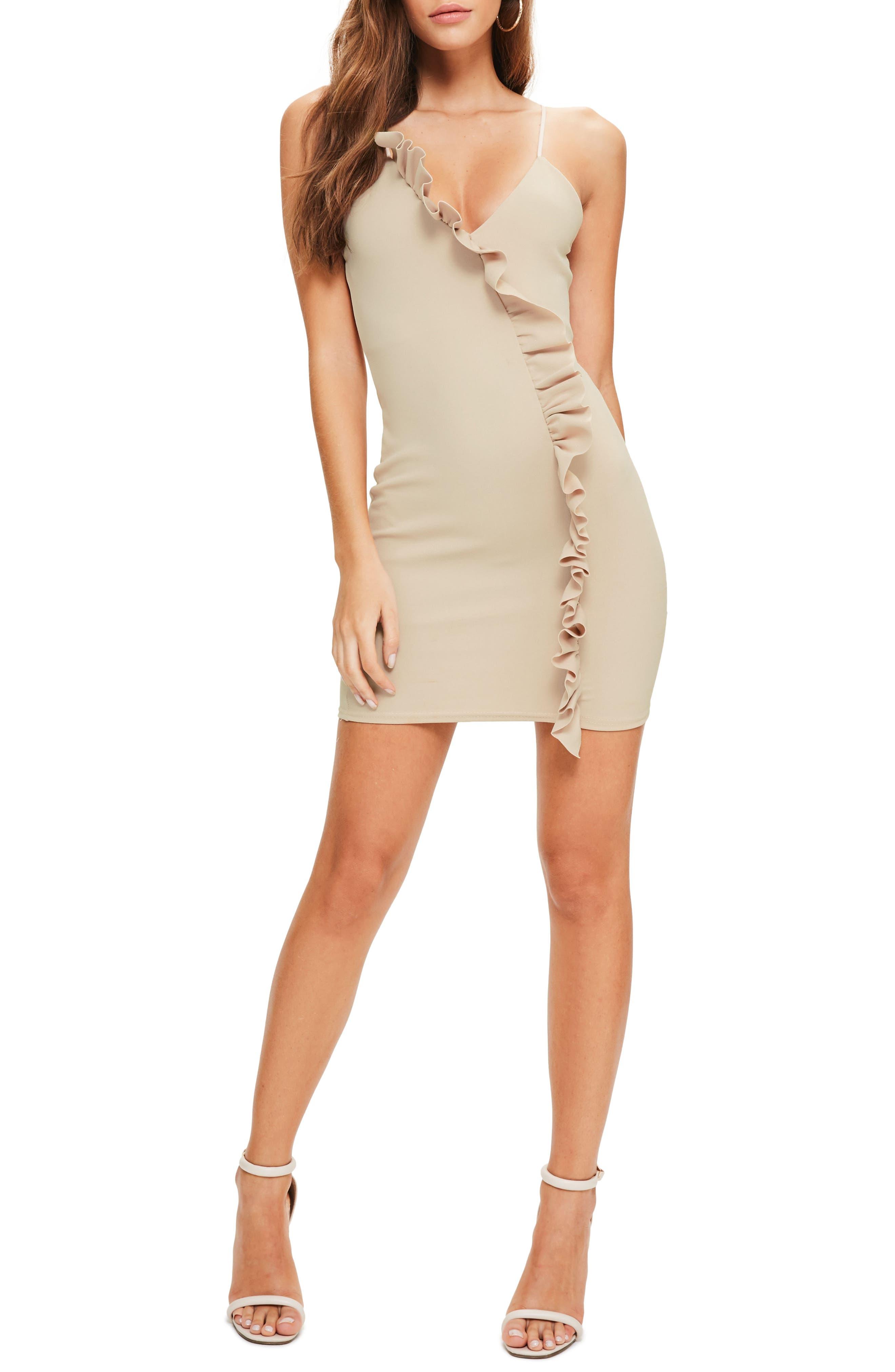 Ruffle Body-Con Dress,                         Main,                         color, Taupe