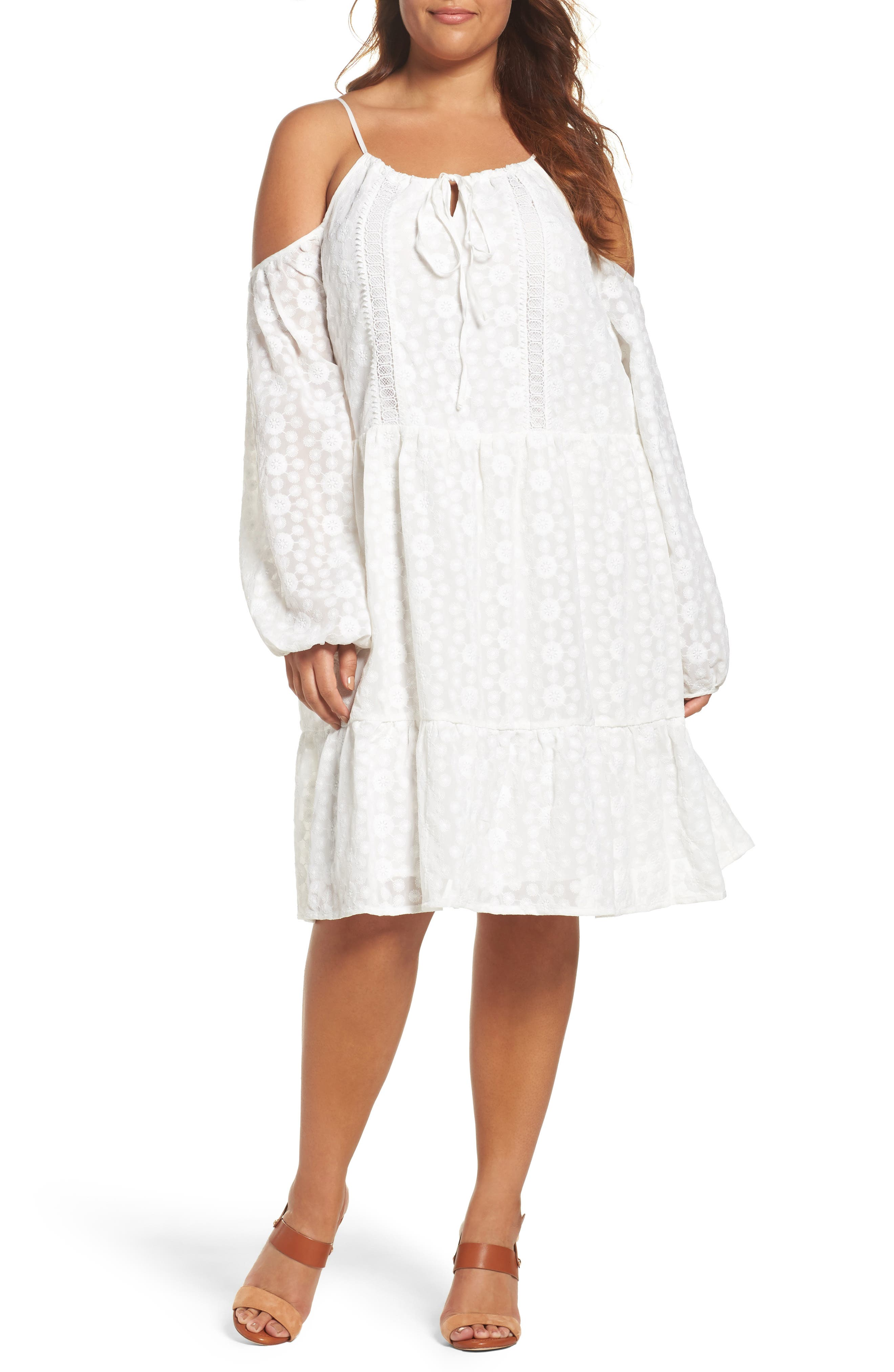 Off the Shoulder Embroidered Trapeze Dress,                             Main thumbnail 1, color,                             White