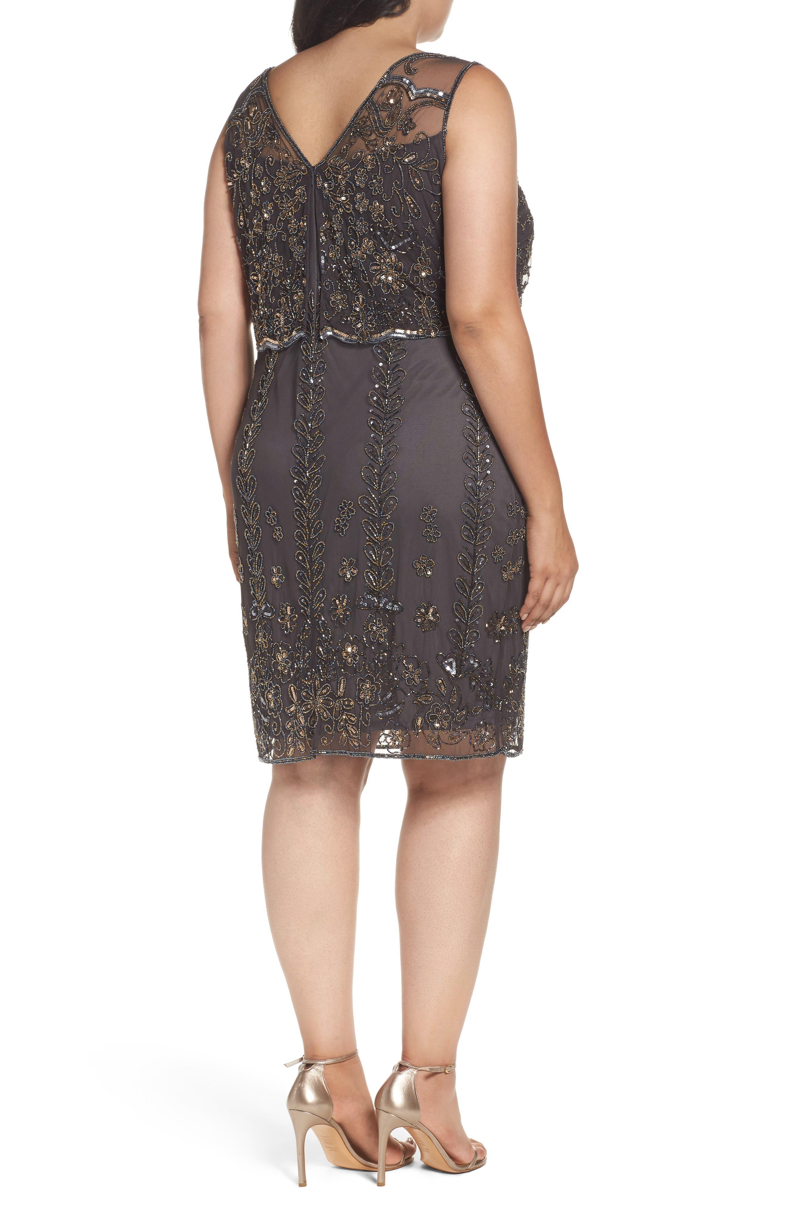 Alternate Image 2  - Pisarro Nights Embellished Popover Bodice Sheath Dress (Plus Size)
