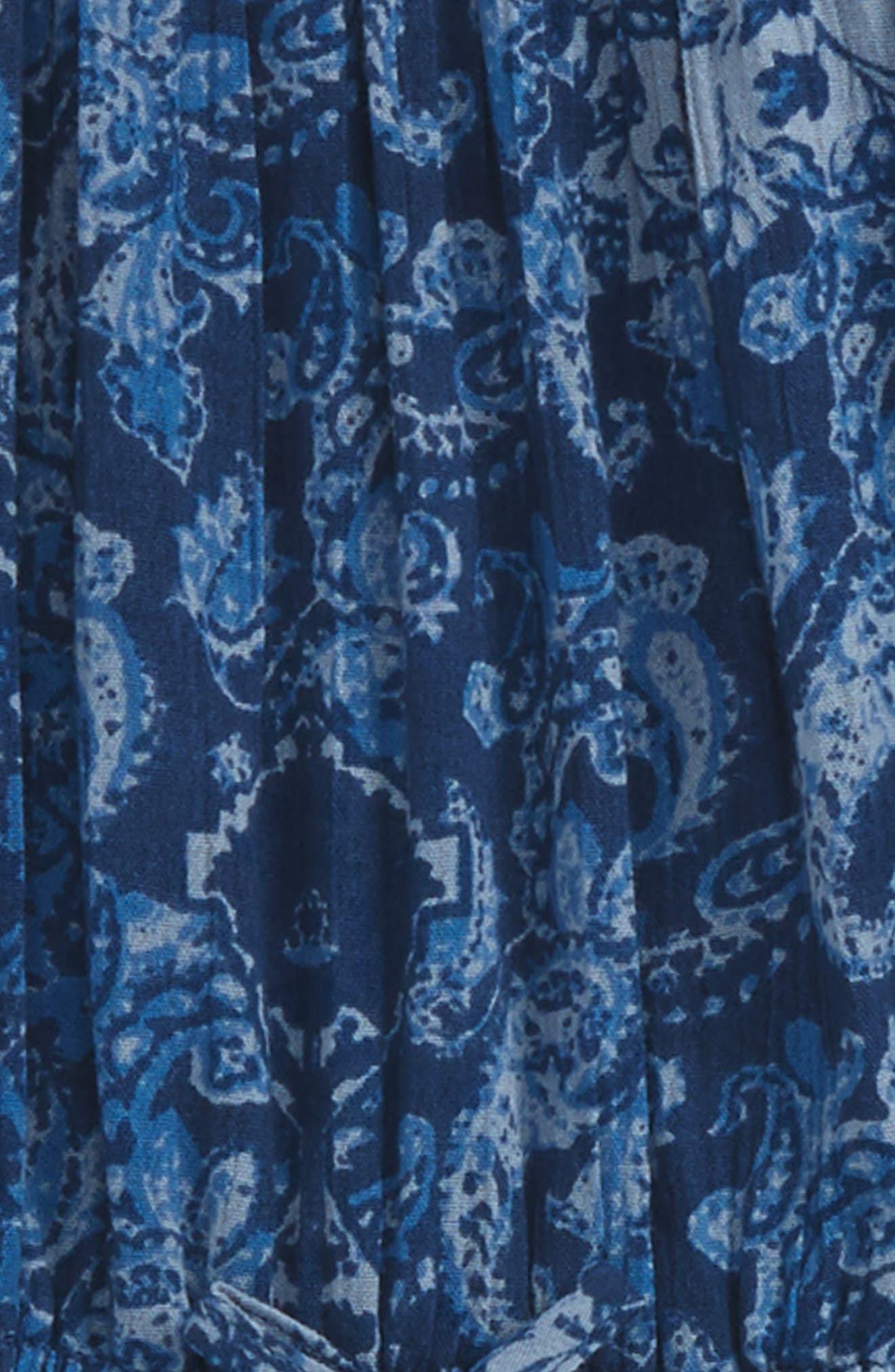 Smocked Romper,                             Alternate thumbnail 2, color,                             Blue Stonewash Patchwork