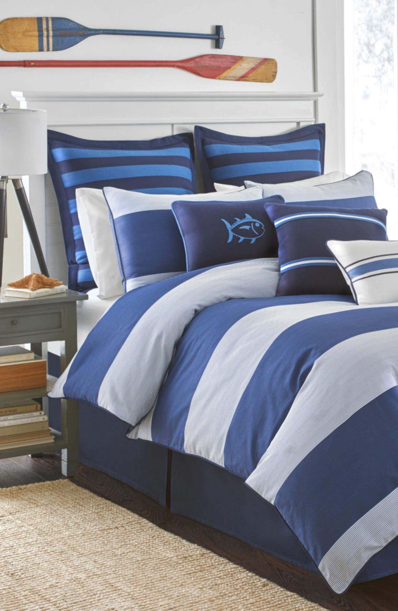 Dock Street Comforter, Sham & Bed Skirt Set,                             Main thumbnail 1, color,                             Blue Stream