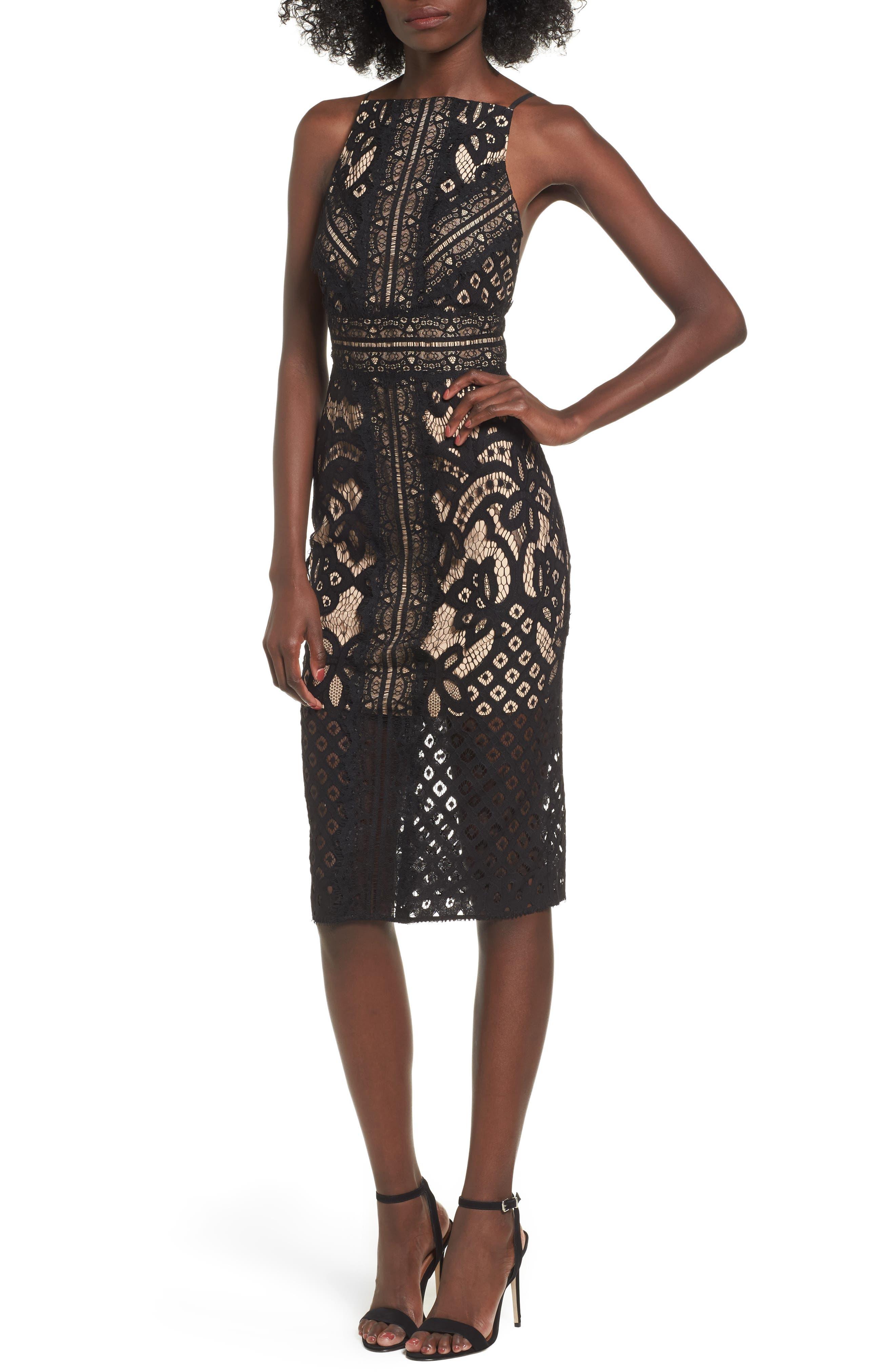 Bridges Lace Midi Dress,                         Main,                         color, Black