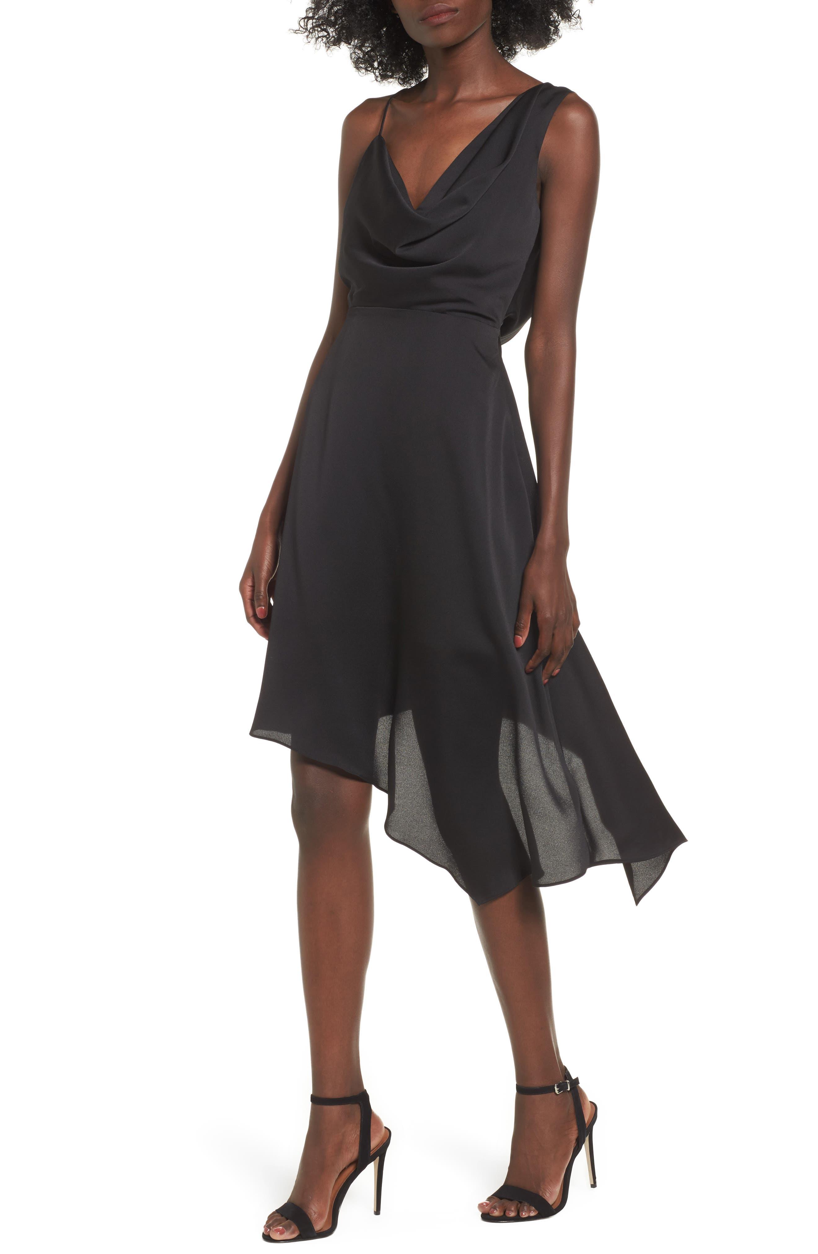 Sidelines Chiffon Midi Dress,                         Main,                         color, Black
