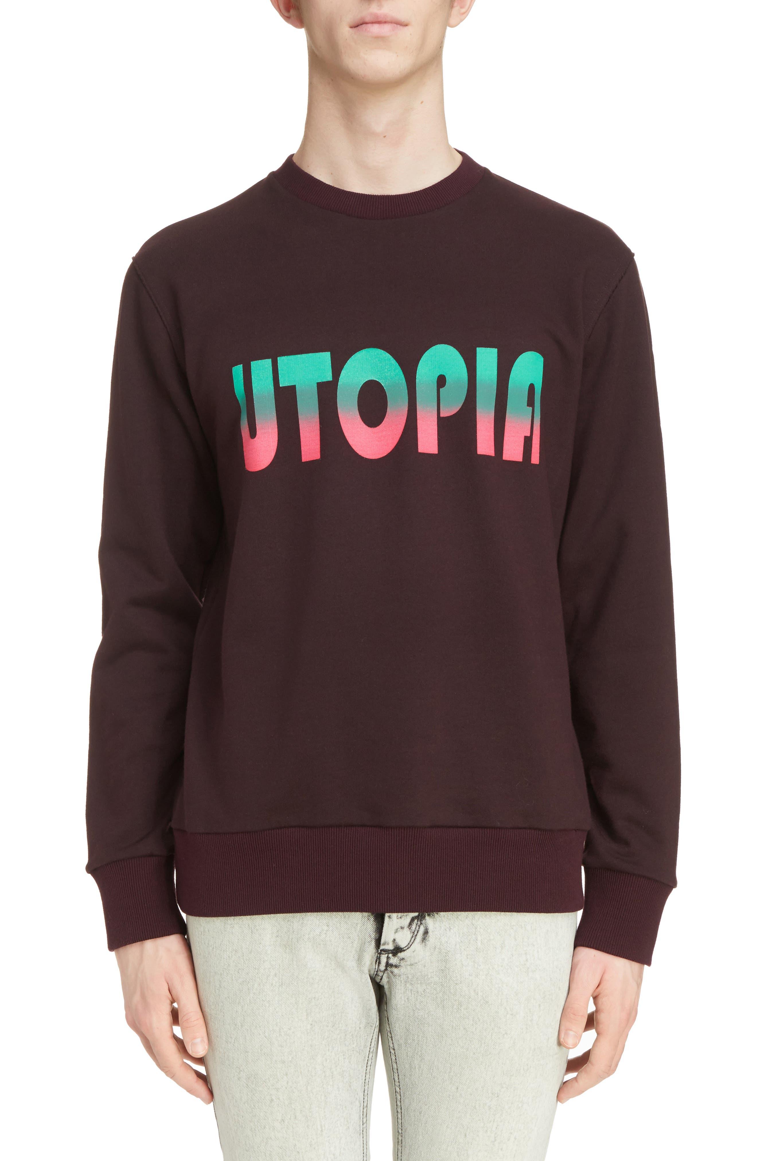Utopia Graphic Crewneck Sweatshirt,                         Main,                         color, Burgundy