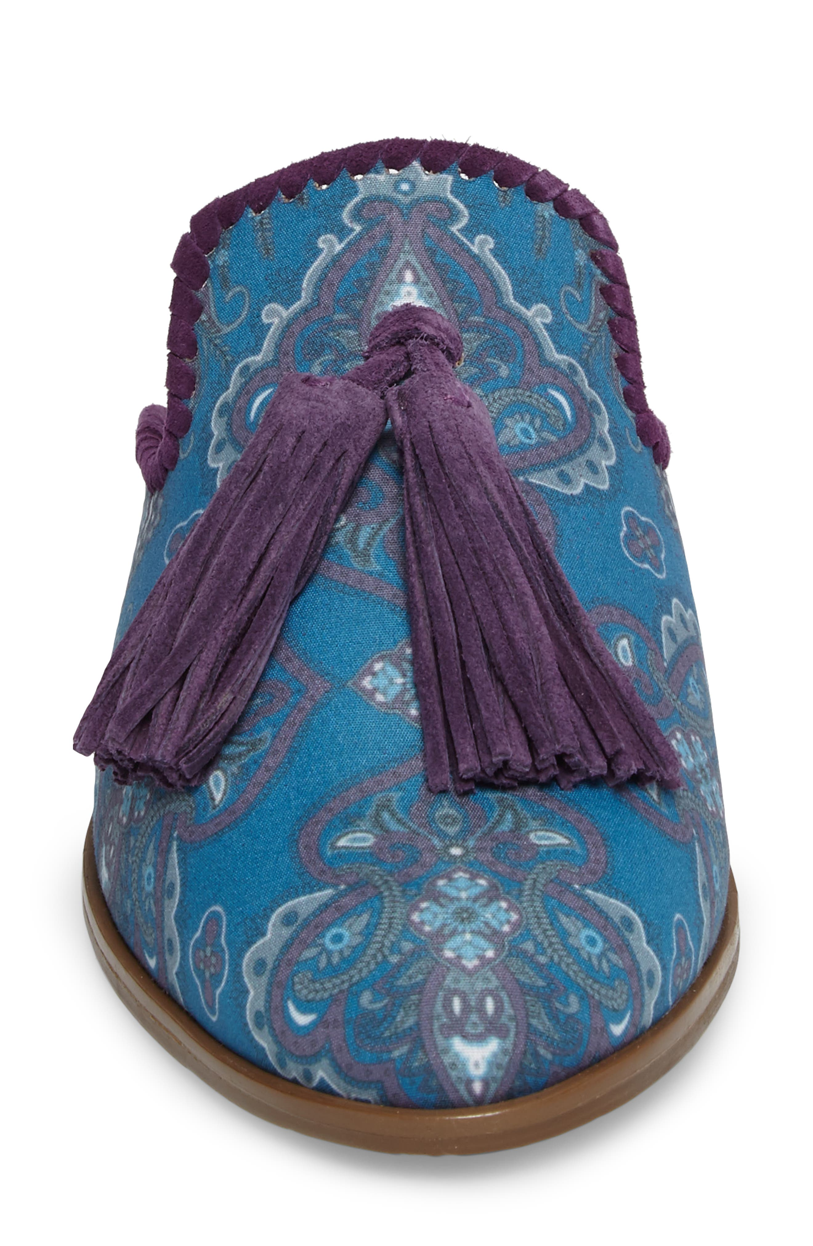 Delaney Tassel Mule,                             Alternate thumbnail 4, color,                             Blue Paisley Fabric