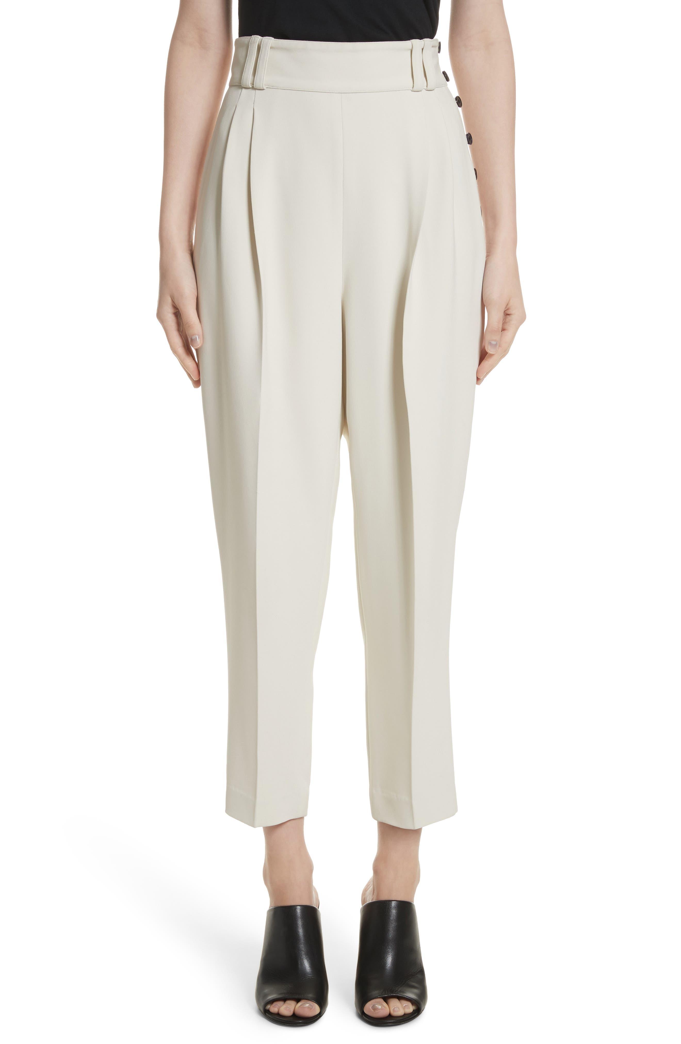 Side Button Crop Pants,                         Main,                         color, Light Cement