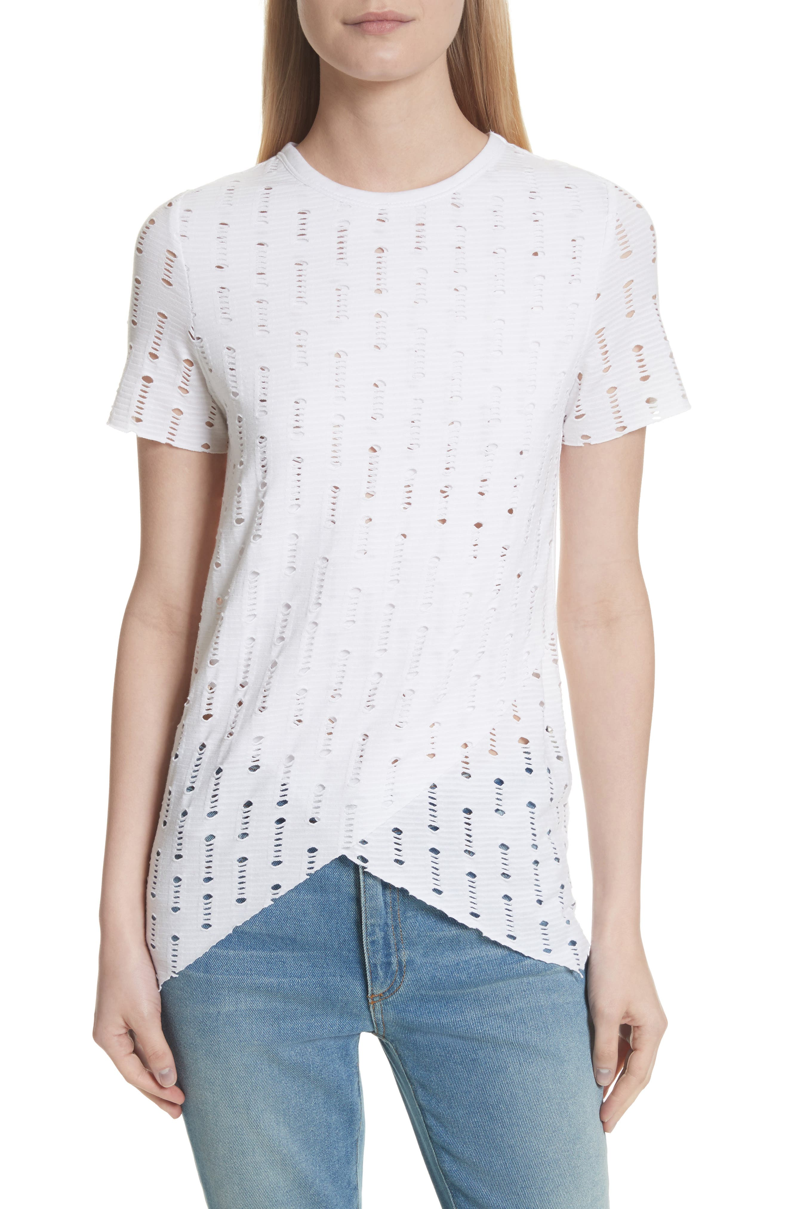 Perforated Tee,                         Main,                         color, White