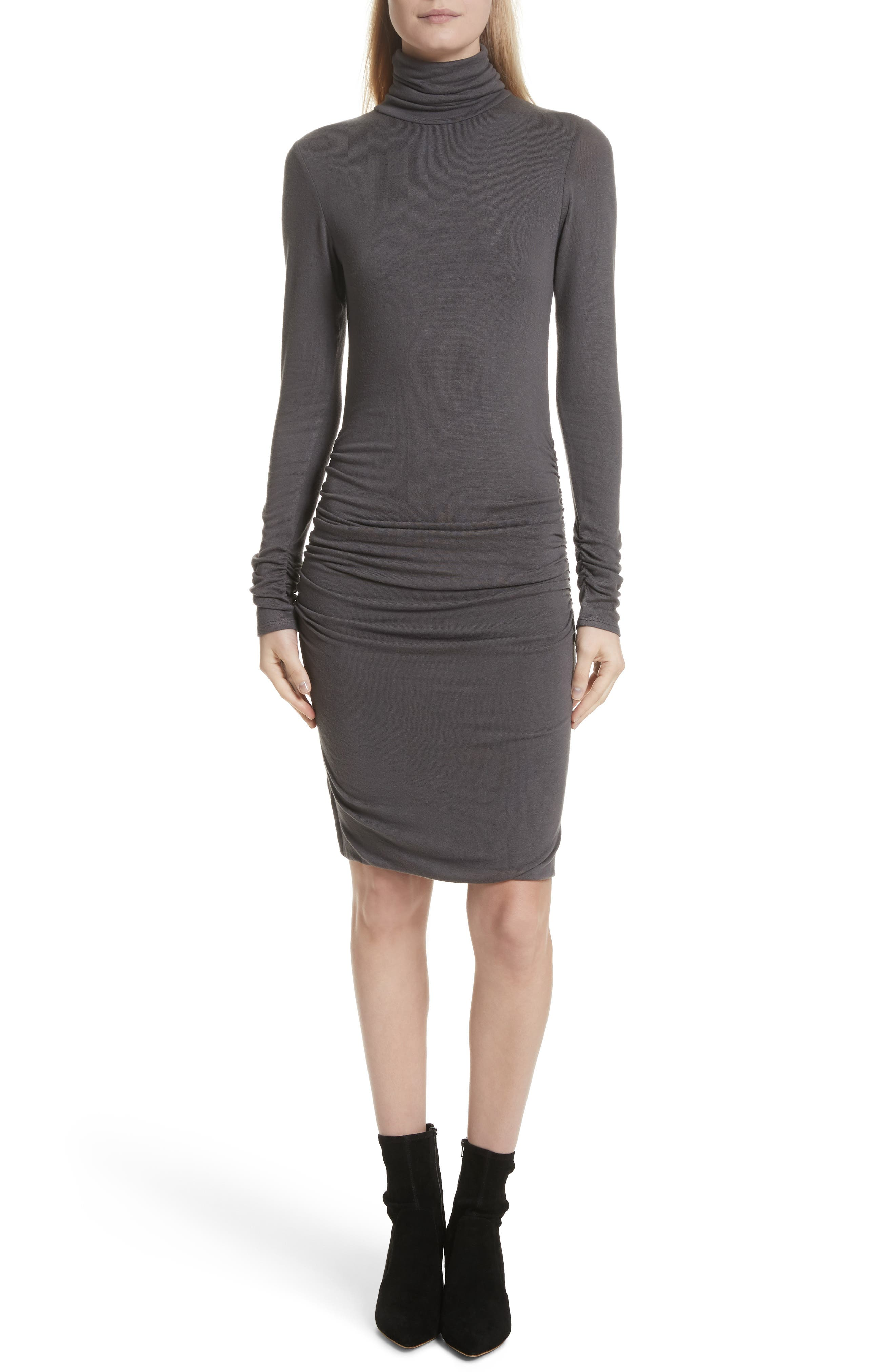 Body-Con Turtleneck Dress,                             Main thumbnail 1, color,                             Gunmetal