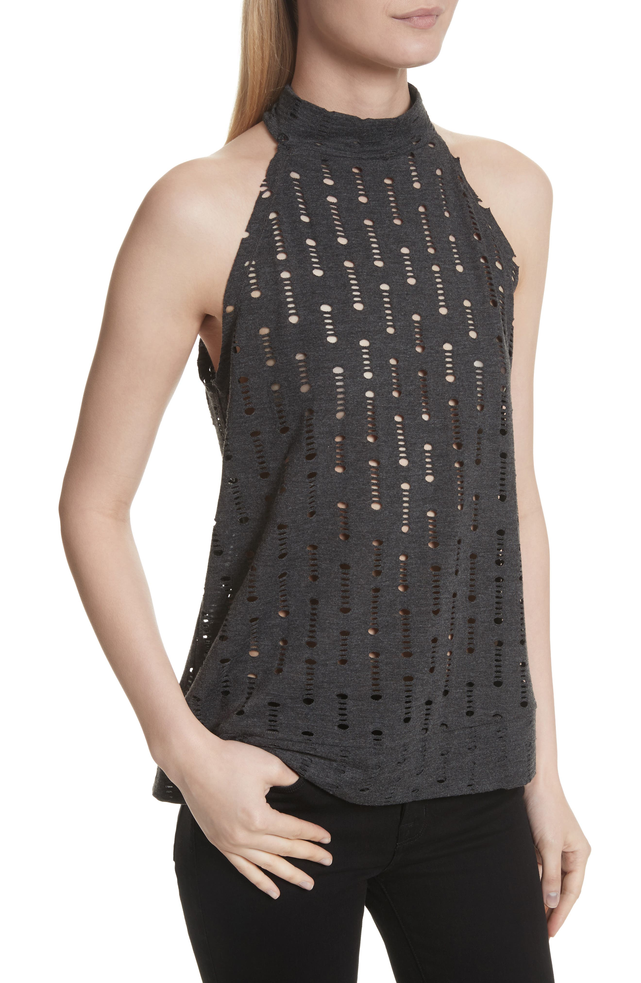 Perforated Halter Top,                             Alternate thumbnail 4, color,                             Black