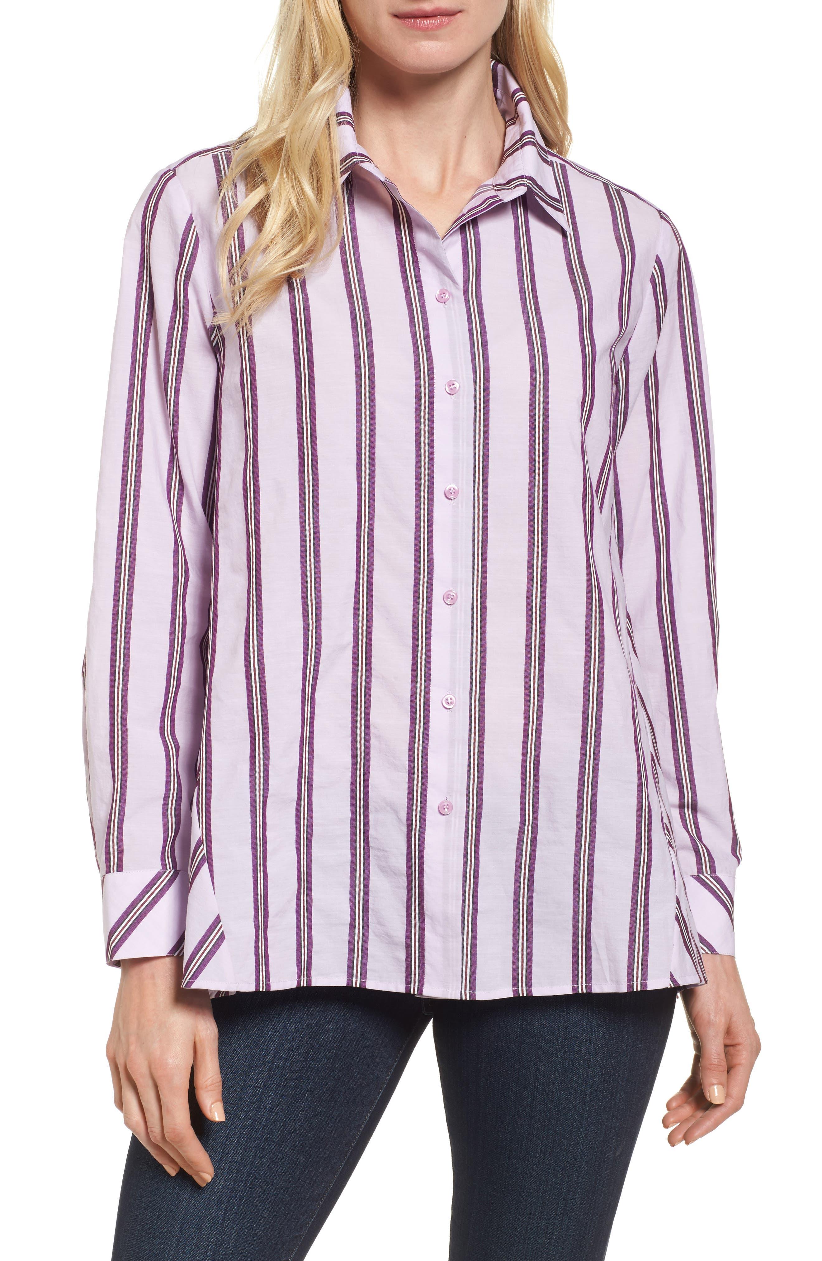 Oversize Stripe Shirt,                         Main,                         color, Pink/ Purple Tape Stripe