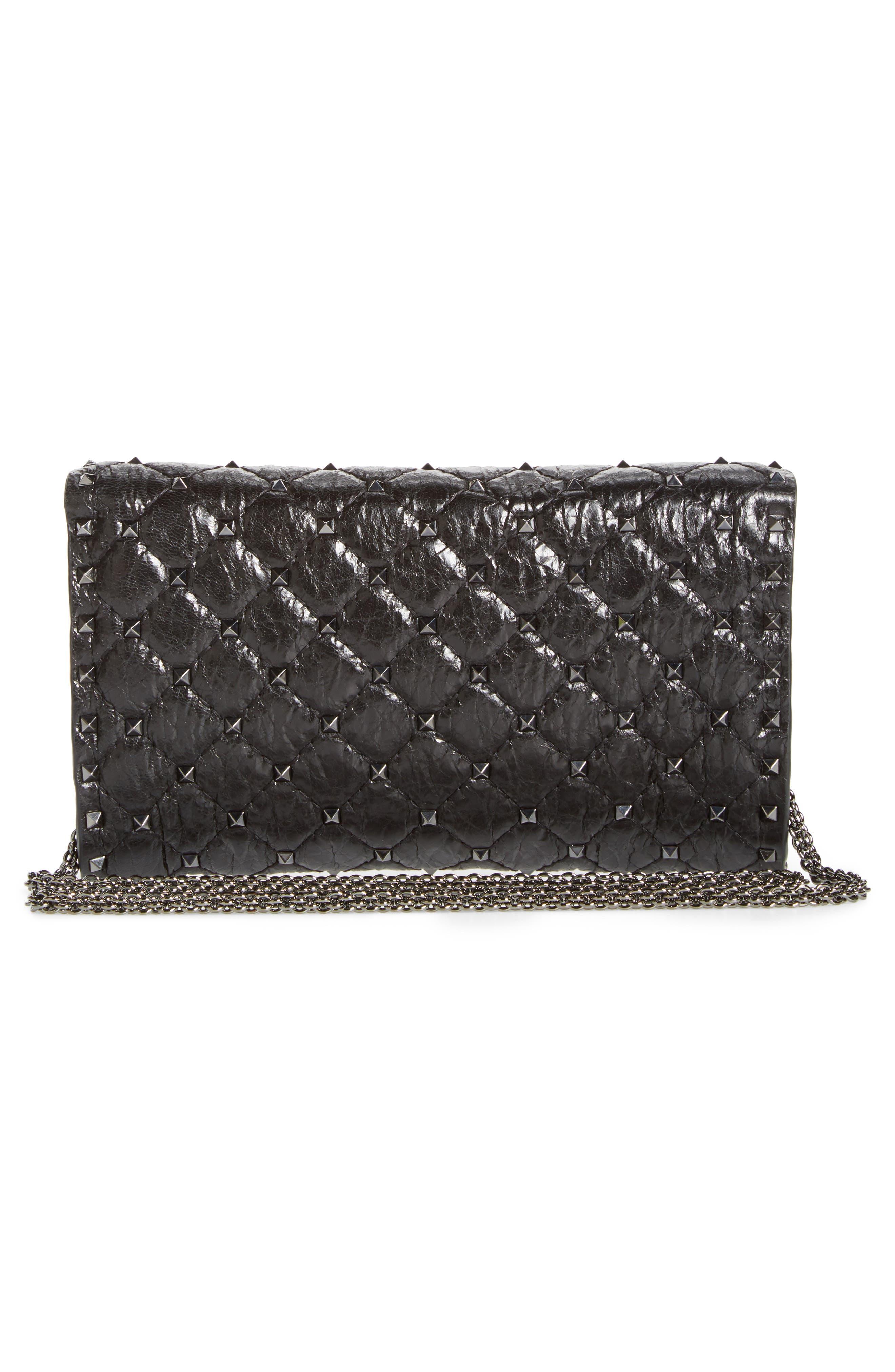 Alternate Image 3  - VALENTINO GARAVANI Matelassé Rockstud Spike Leather Wallet on a Chain