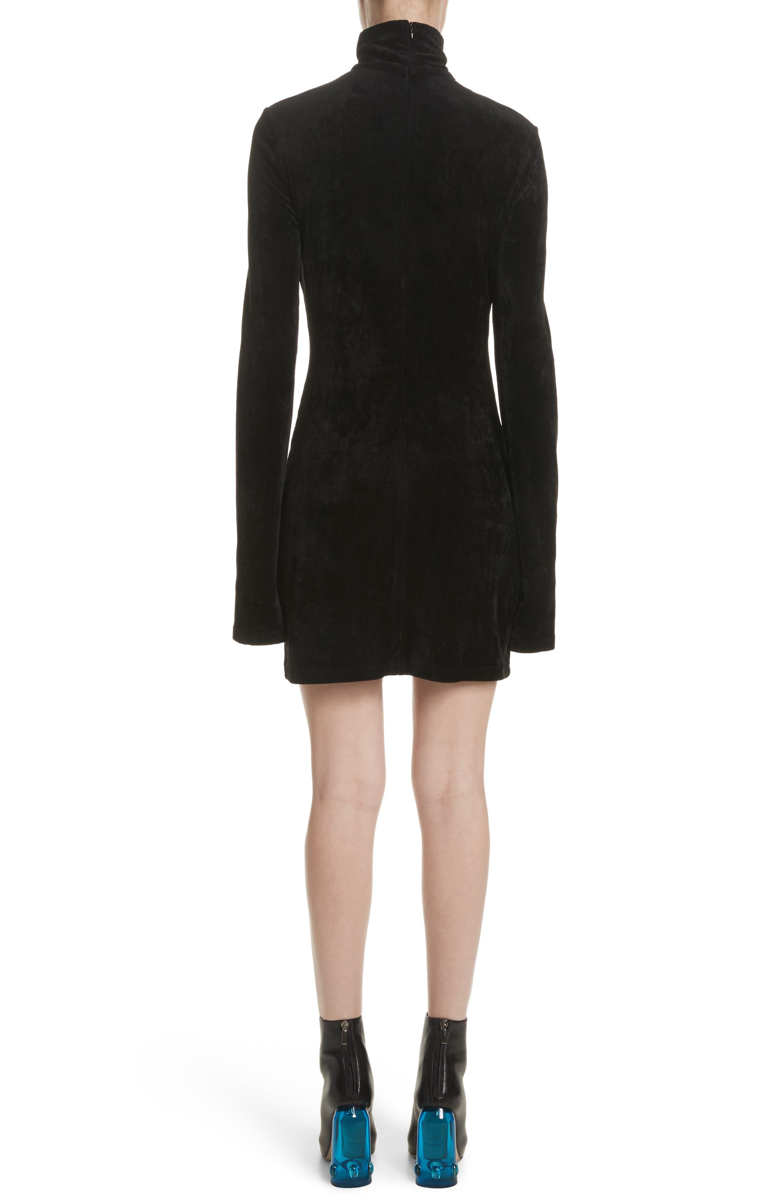 Abigail Funnel Neck Dress,                             Alternate thumbnail 2, color,                             Black