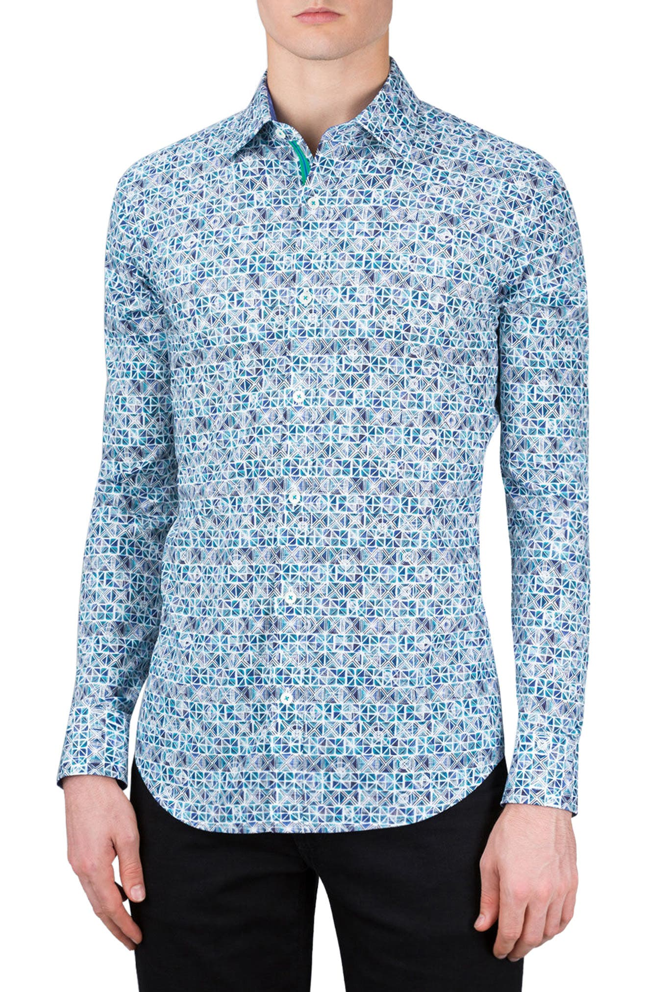 Main Image - Bugatchi Shaped Fit Print Sport Shirt