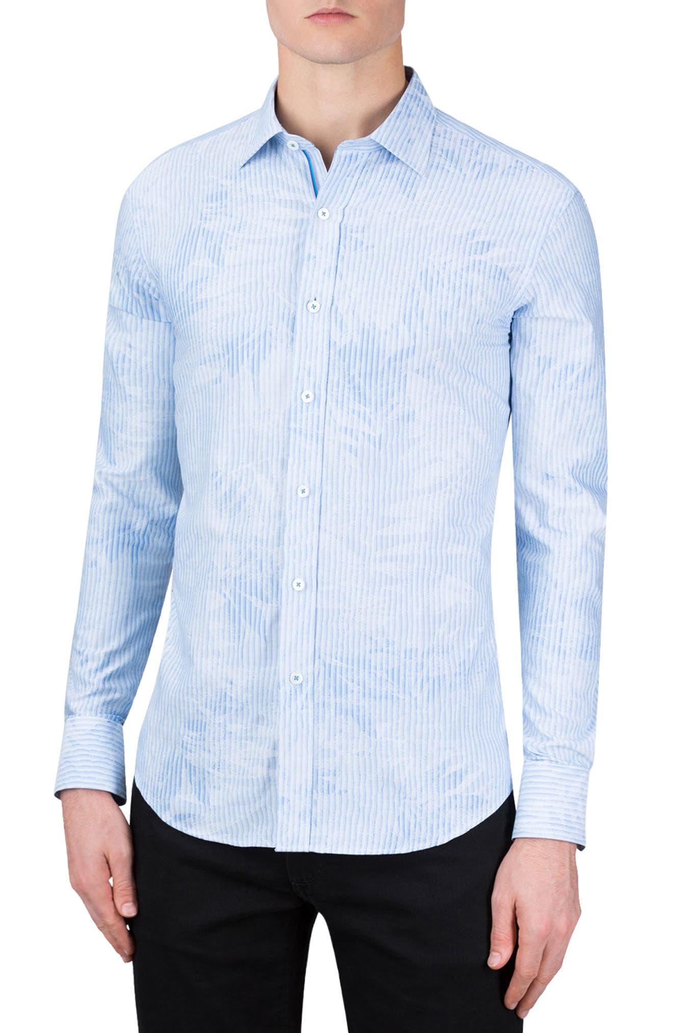 Shaped Fit Floral Stripe Sport Shirt,                         Main,                         color, Sky