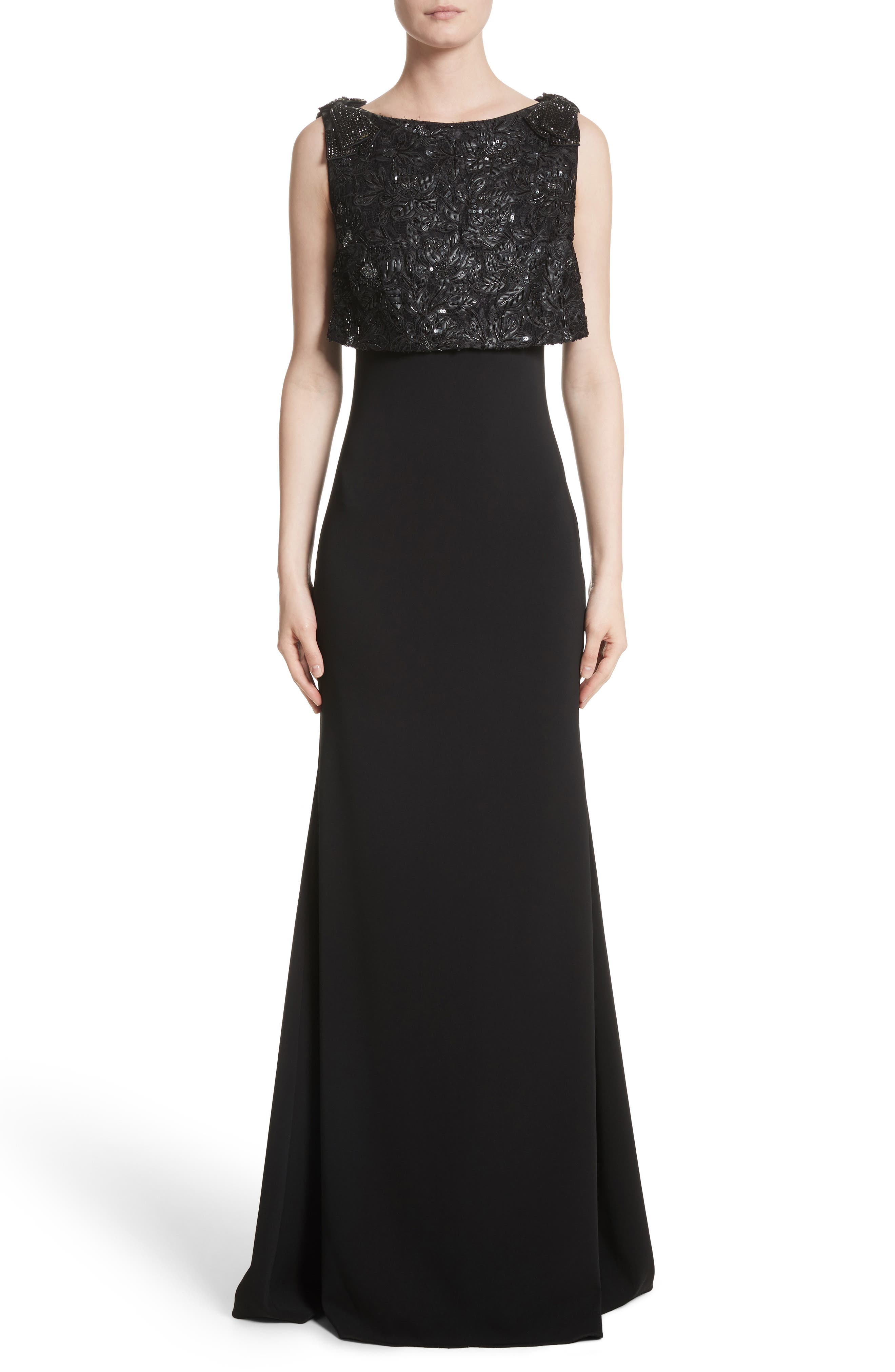 Badgley Mischka Couture Embellished Popover Gown,                         Main,                         color, Black