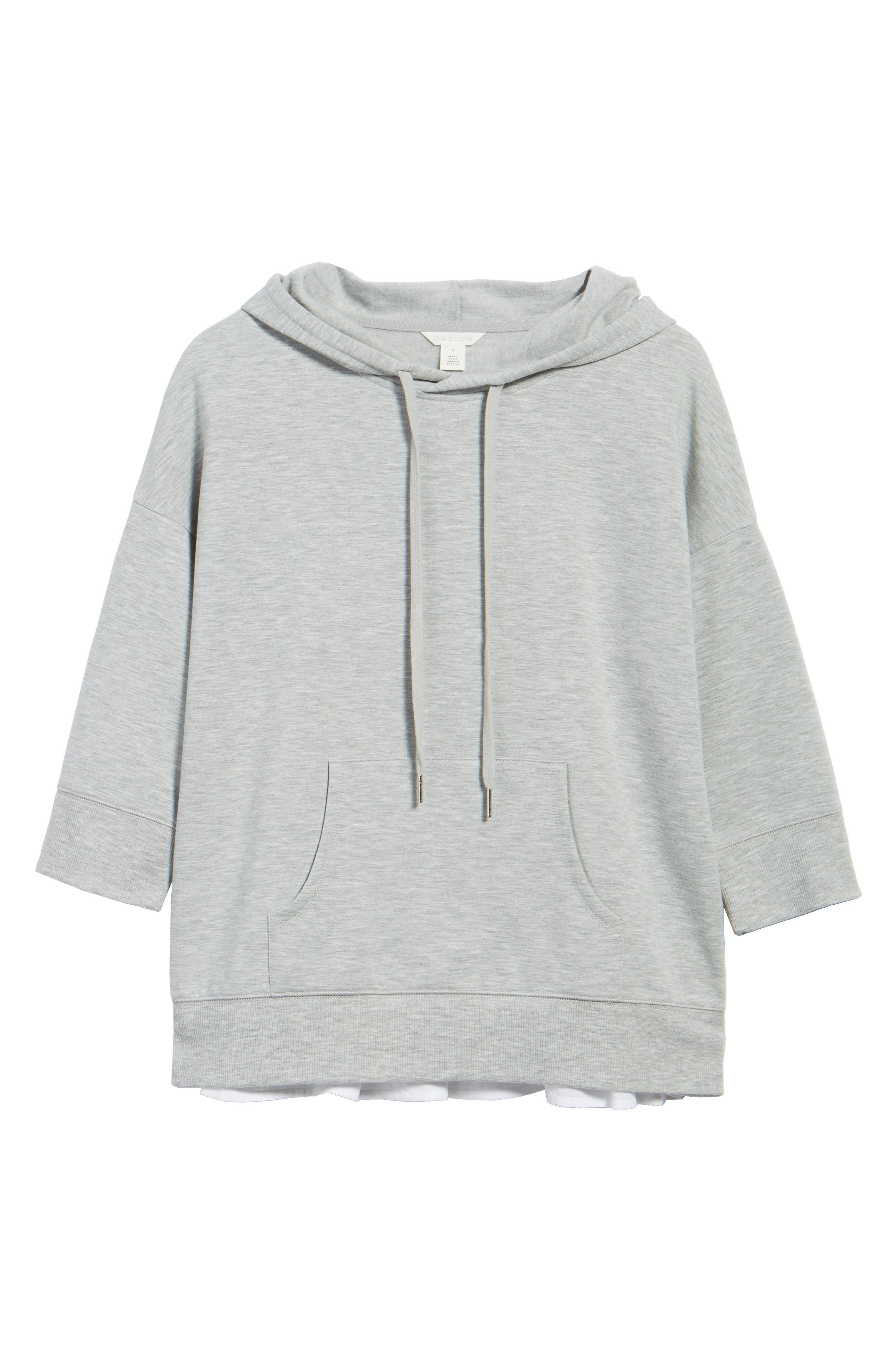 Woven Inset Knit Hoodie,                             Alternate thumbnail 6, color,                             Heather Grey