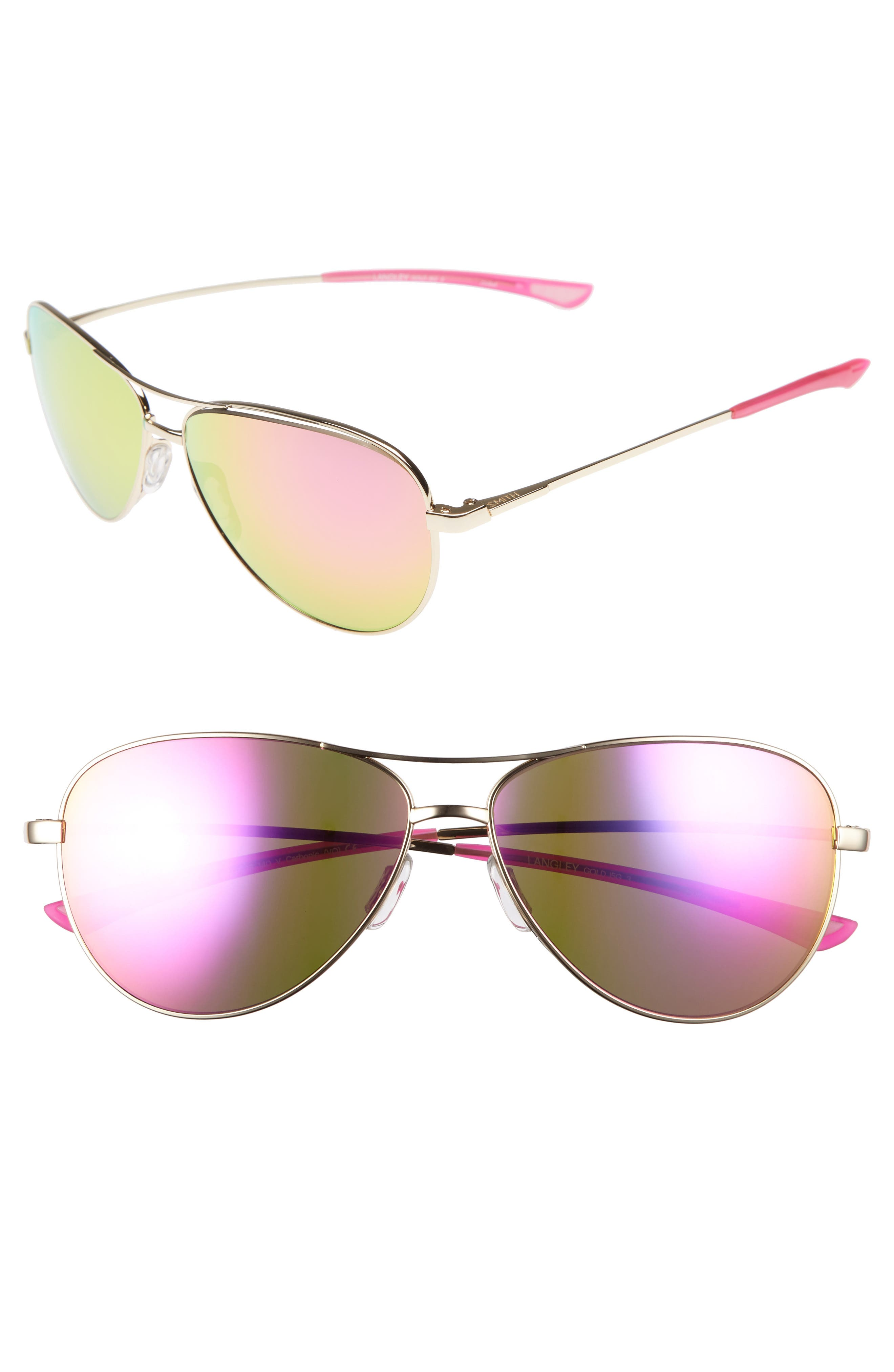 'LANGLEY' 60MM AVIATOR SUNGLASSES - GOLD/ PINK
