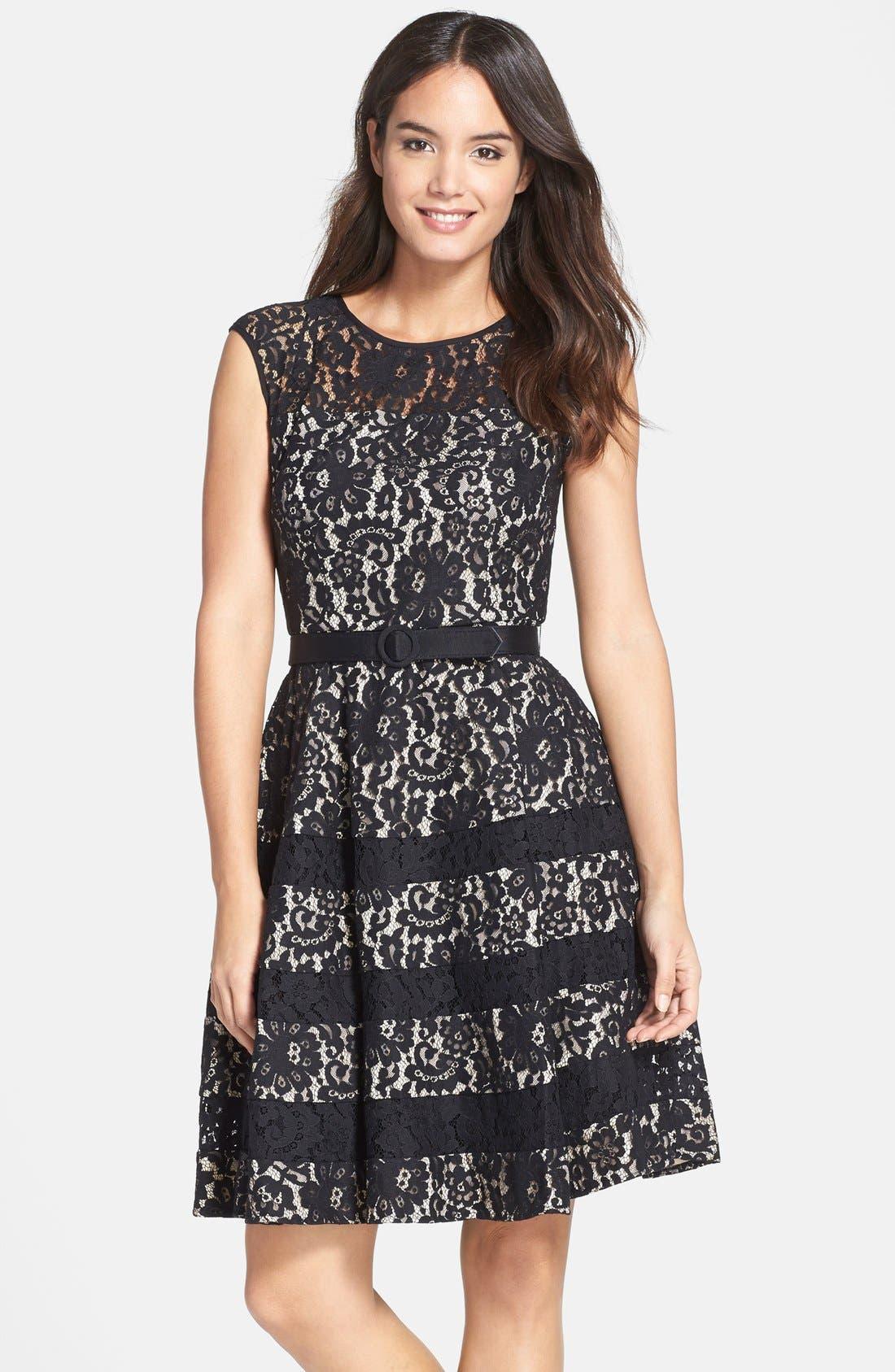 eliza j belted cap sleeve lace fit flare dress regular
