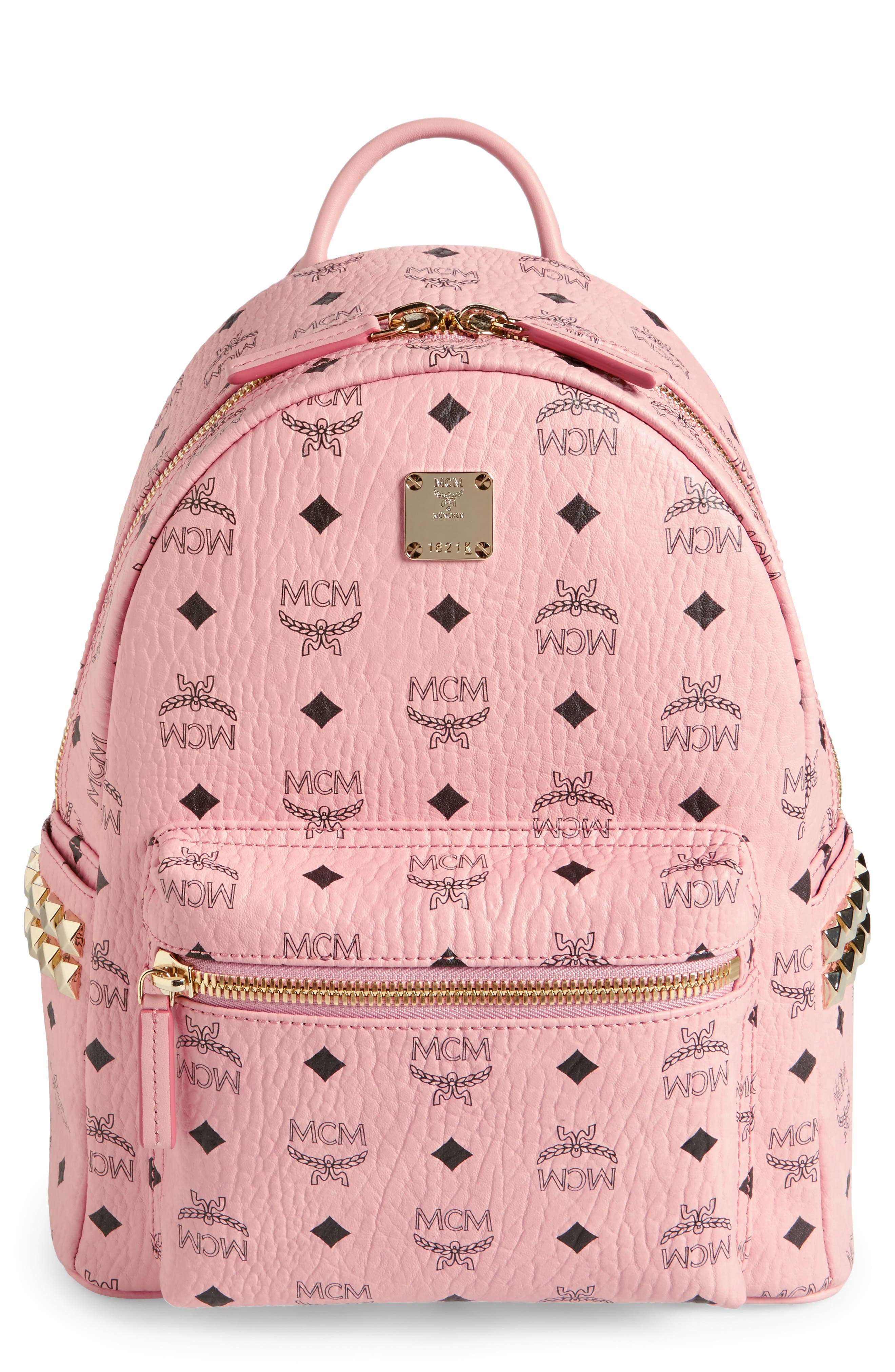 Alternate Image 1 Selected - MCM Small Stark Side Stud Coated Canvas Backpack
