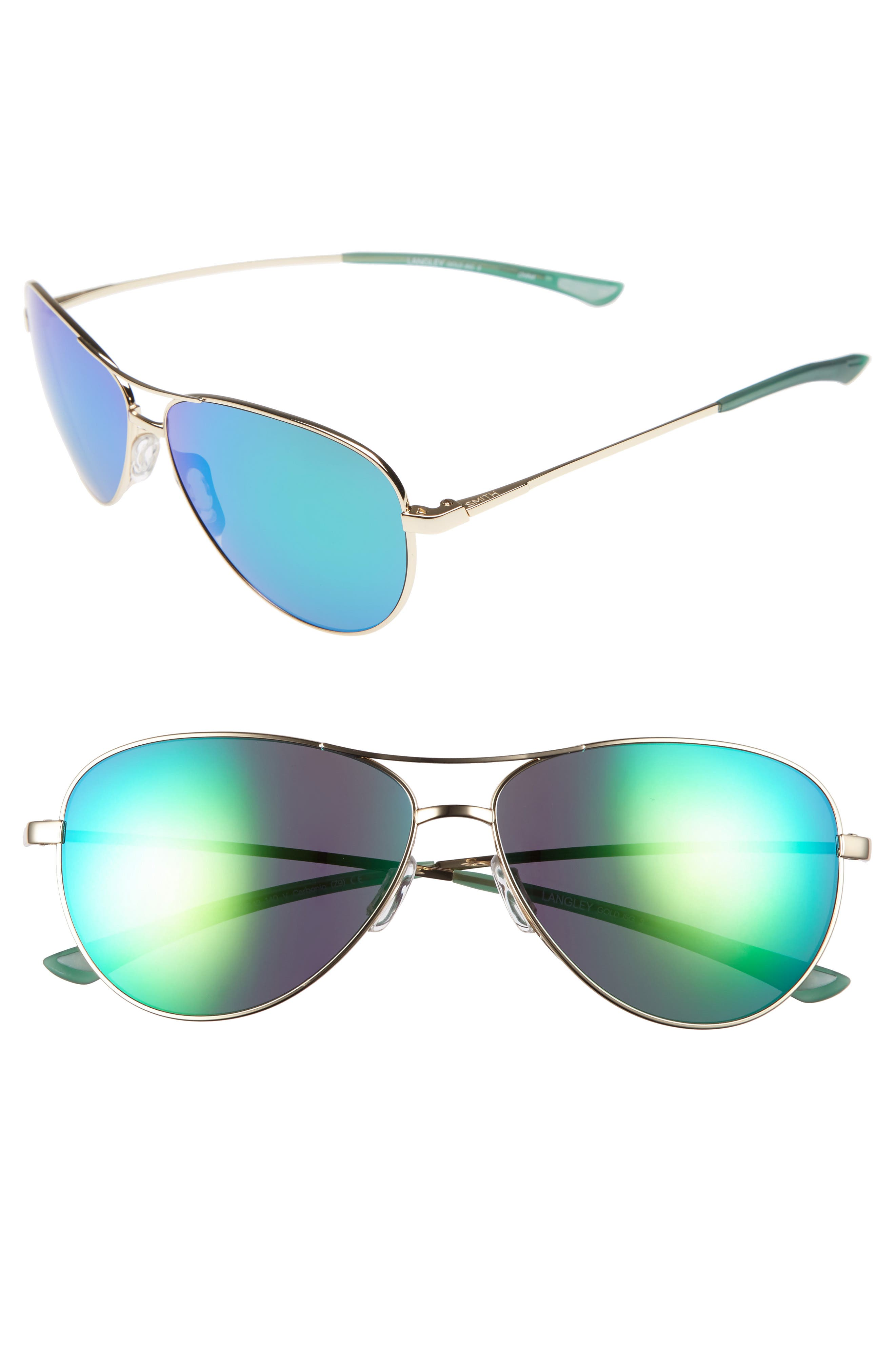'LANGLEY' 60MM AVIATOR SUNGLASSES - GOLD/ GREEN