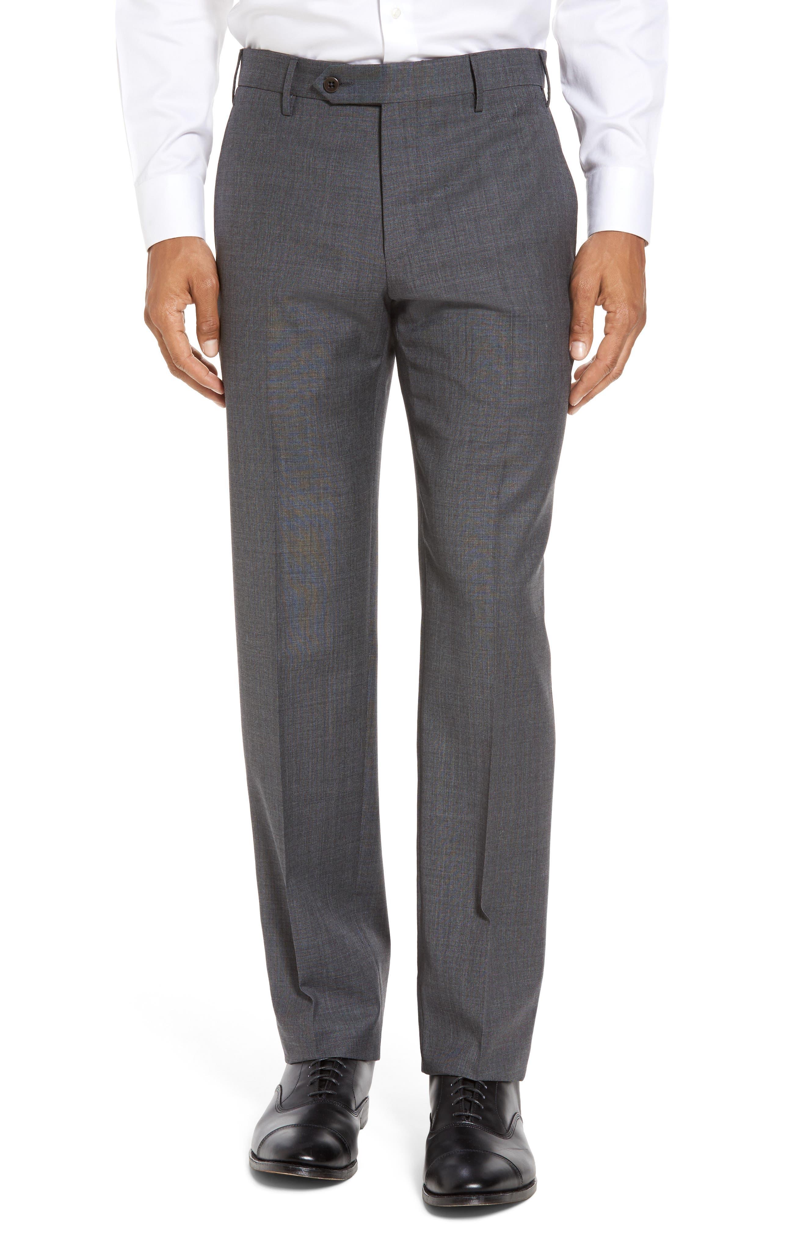 ZANELLA Parker Flat Front Sharkskin Wool Trousers in Medium Grey