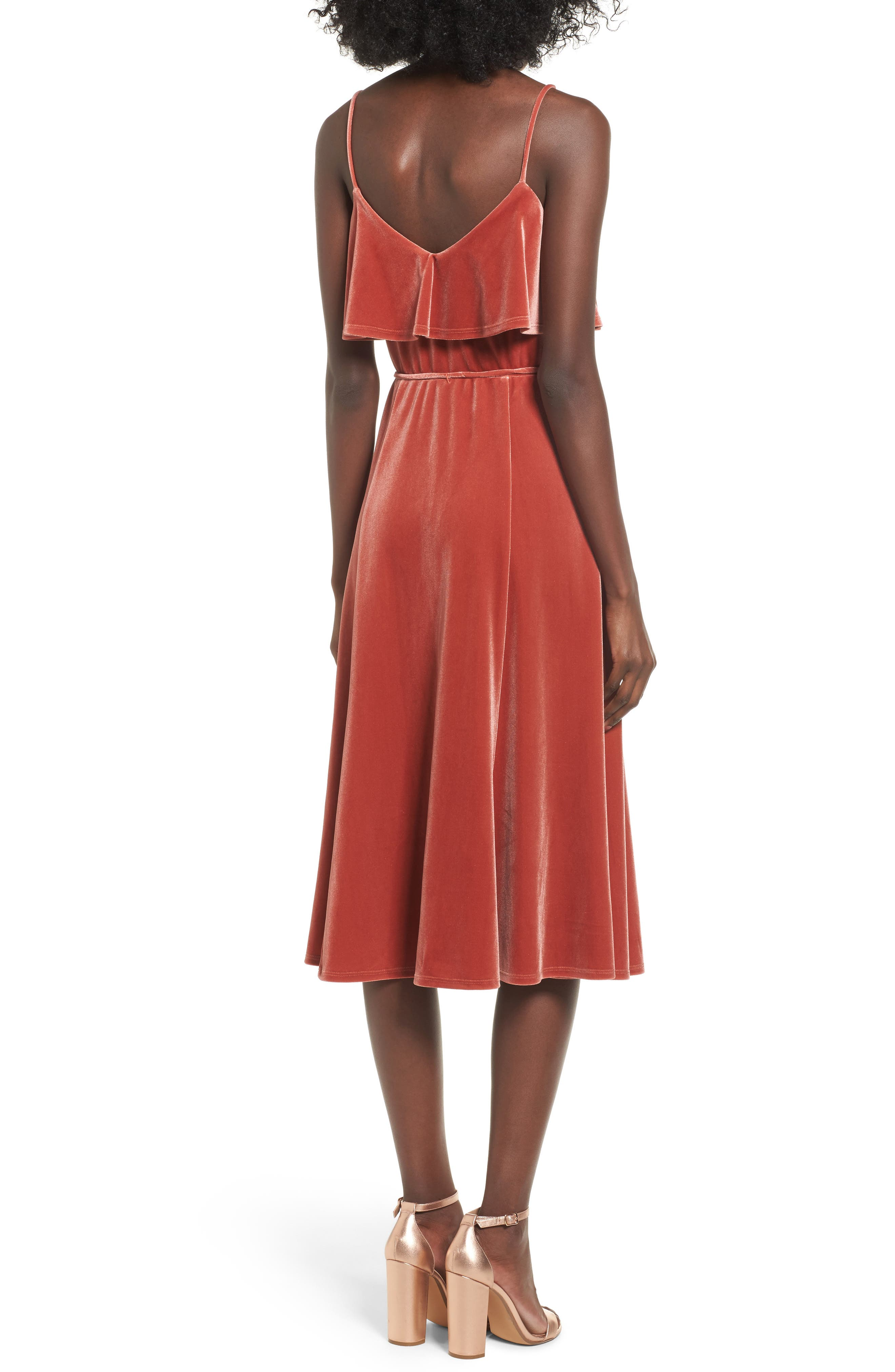 Velvet Midi Dress,                             Alternate thumbnail 2, color,                             Rust Marsala