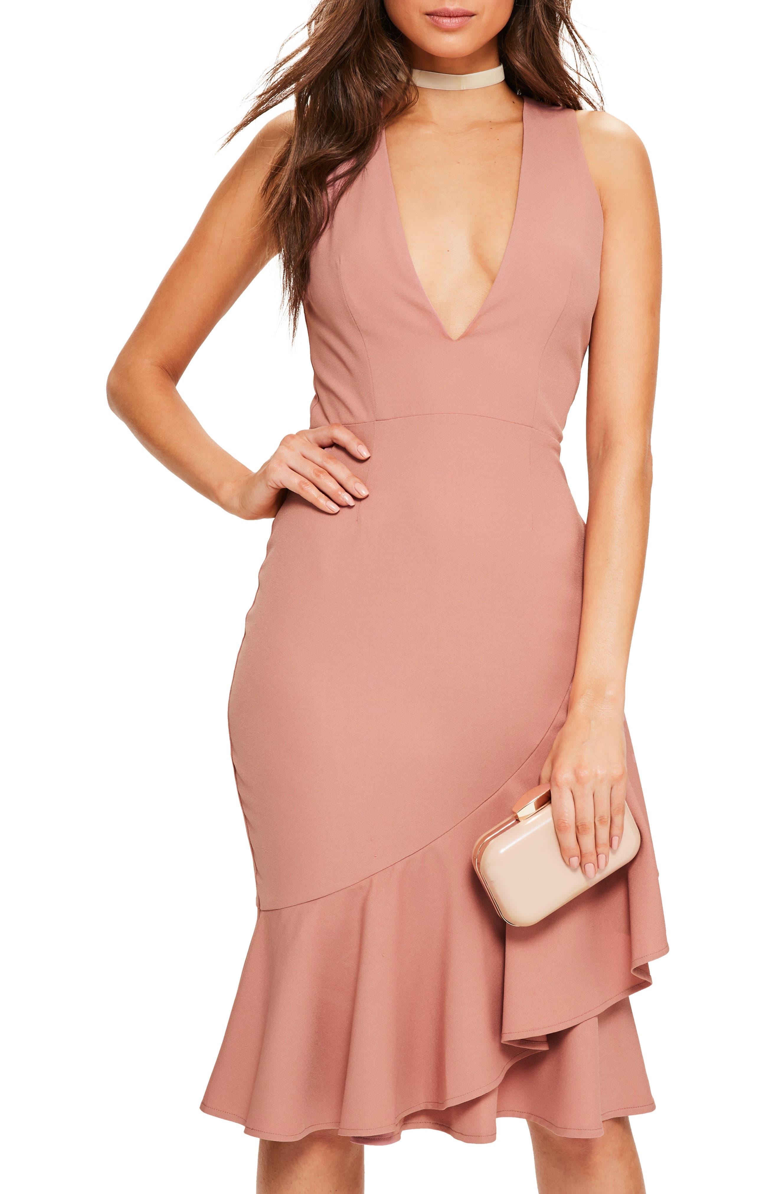 Plunge Ruffle Body-Con Dress,                             Alternate thumbnail 3, color,                             Rose